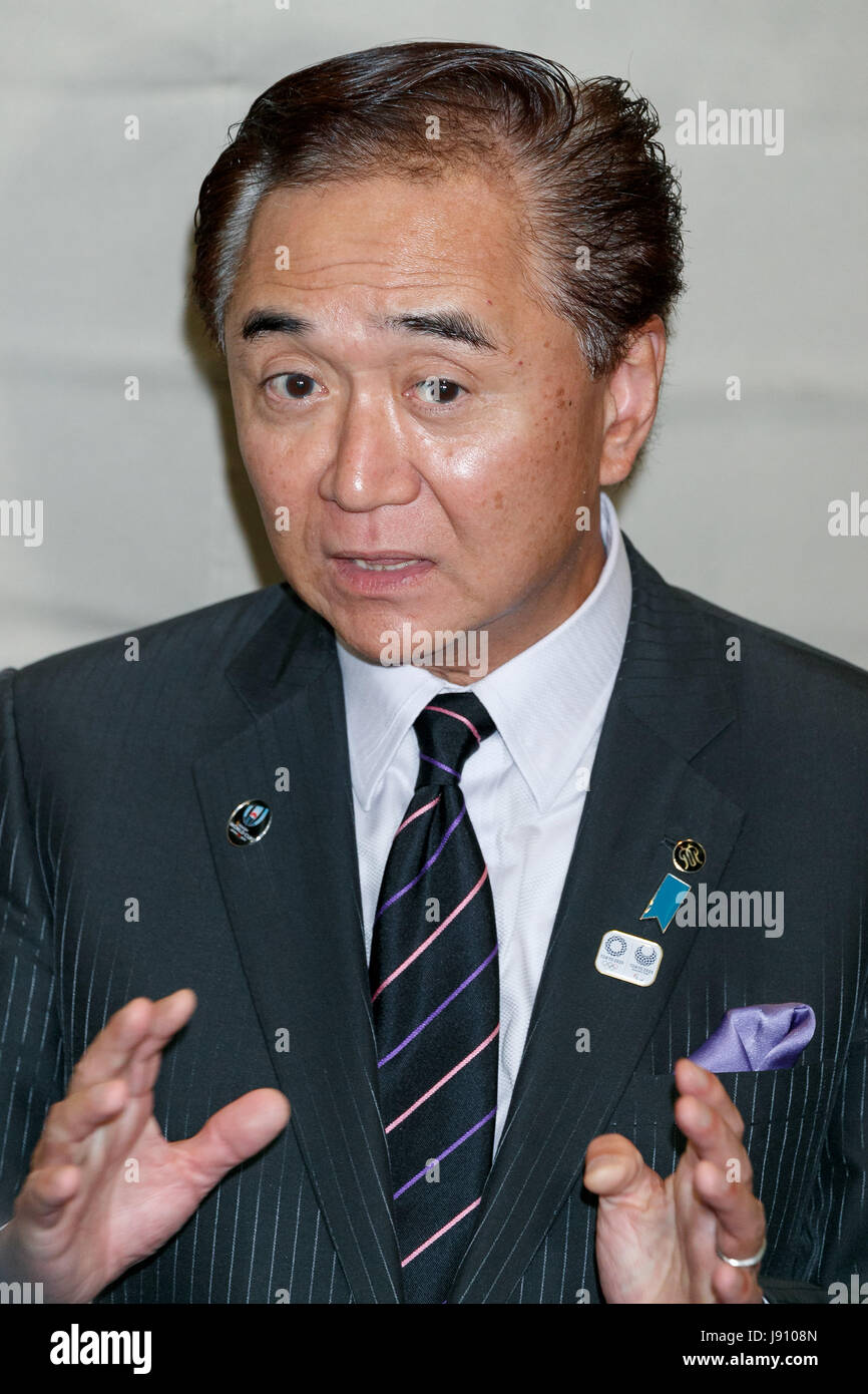 Governor of Kanagawa Prefecture Yuji Kuroiwa answers questions from the media after attended a meeting with local - Stock Image