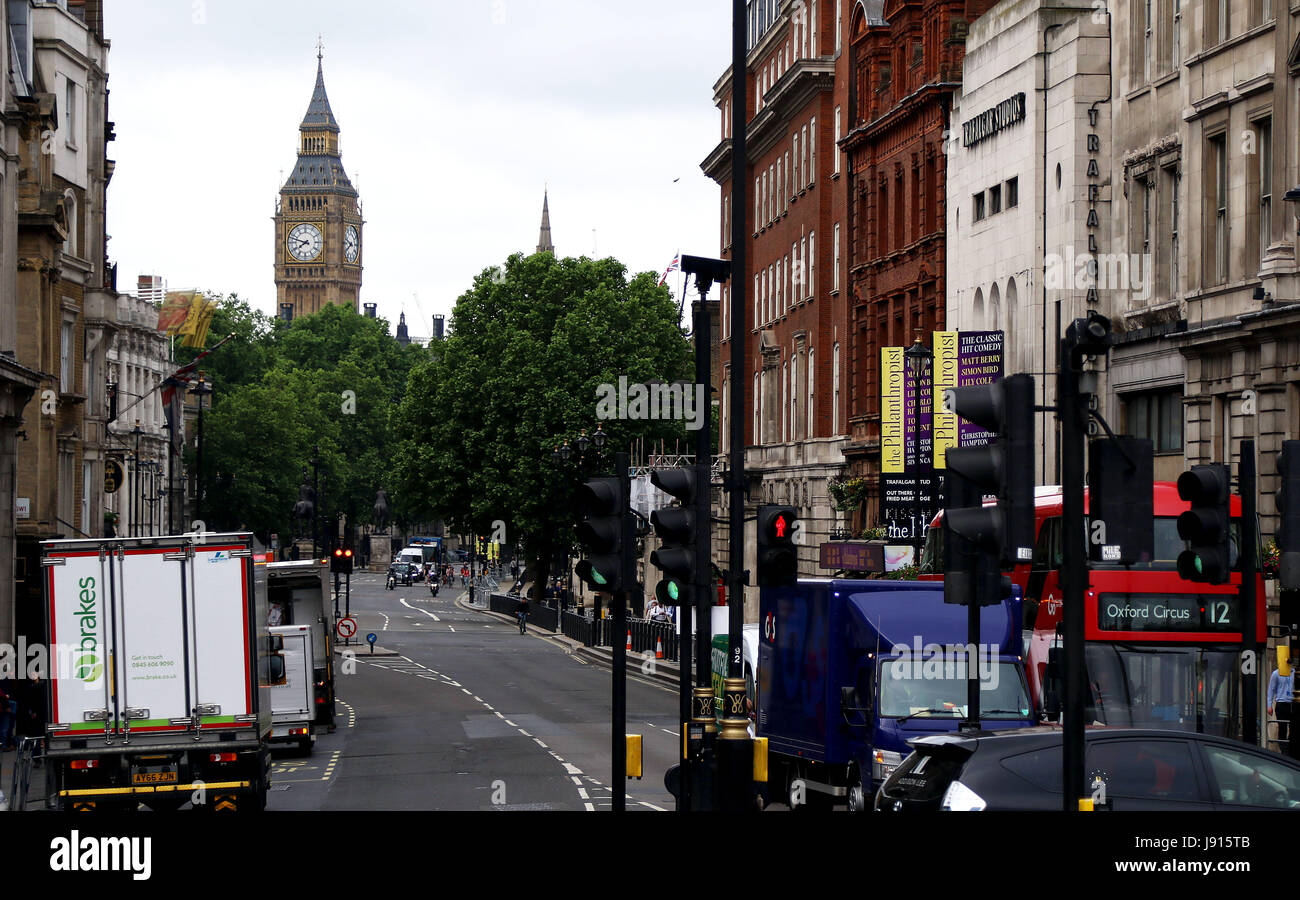 May 30, 2017 - View of Big Ben from Trafalgar Square looking up Whitehall - Stock Image