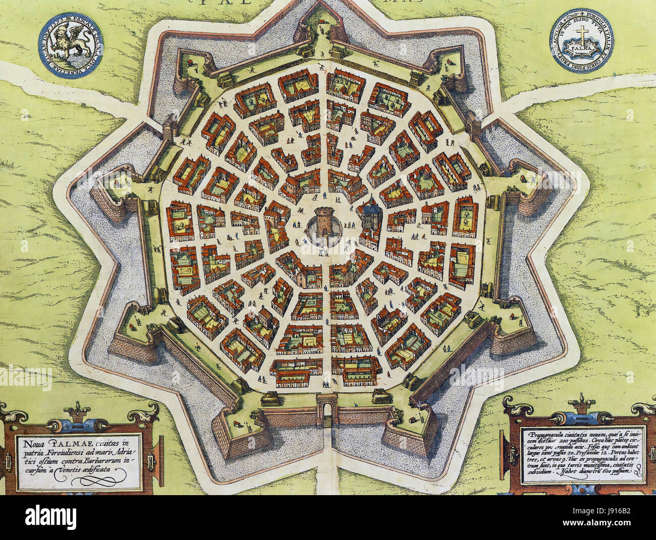 PALMANOVA, north east Italy. A 17th century map showing the star-shaped bastion defences designed by Vincenzo Scamozzi. - Stock Image