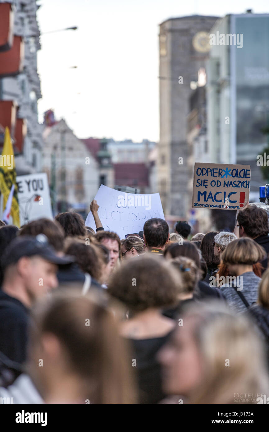 Protests in Poland against the total ban on abortion, black protest, women rights, women protesting. 2016 Poznan. - Stock Image