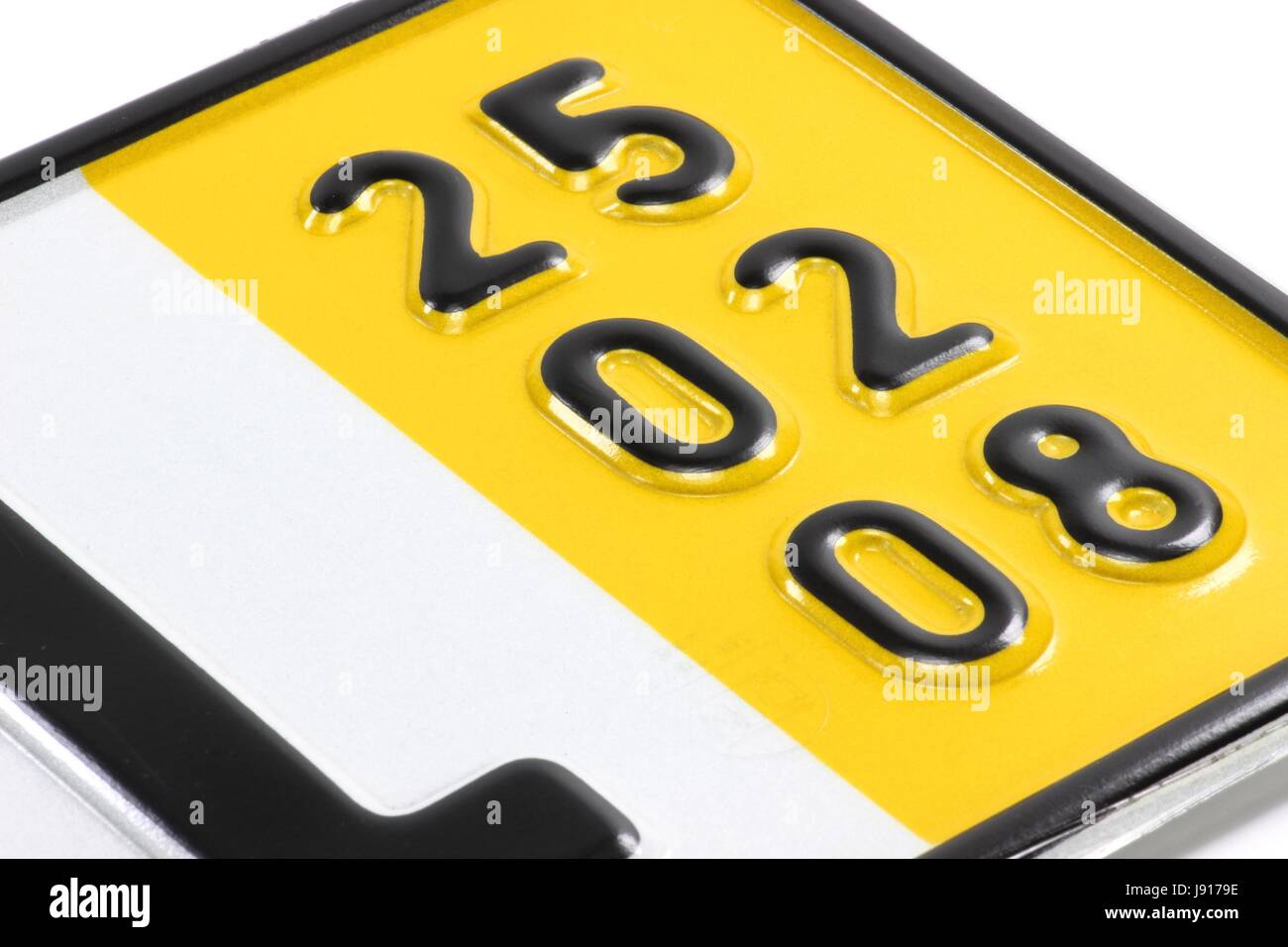 validity date of a German temporary registration plate (in this case February 25, 2008) - Stock Image