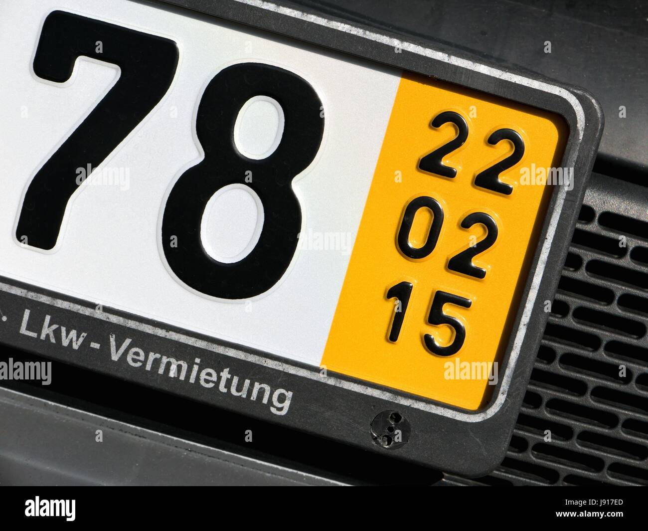 validity date of a German temporary registration plate (in this case February 22, 2015) - Stock Image