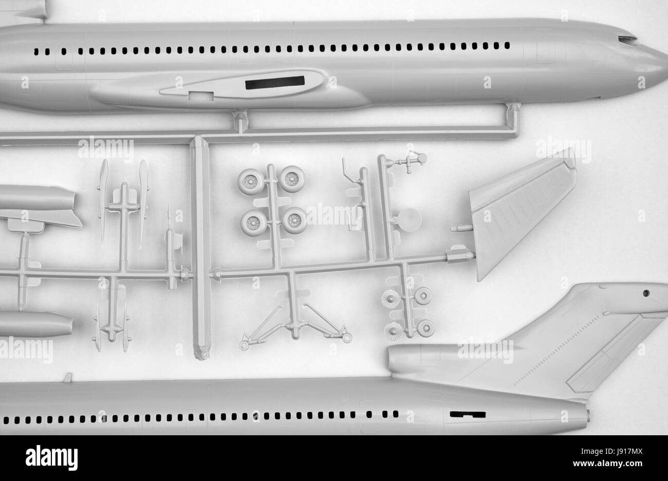 Airfix Boeing 727 airliner model kit - Stock Image