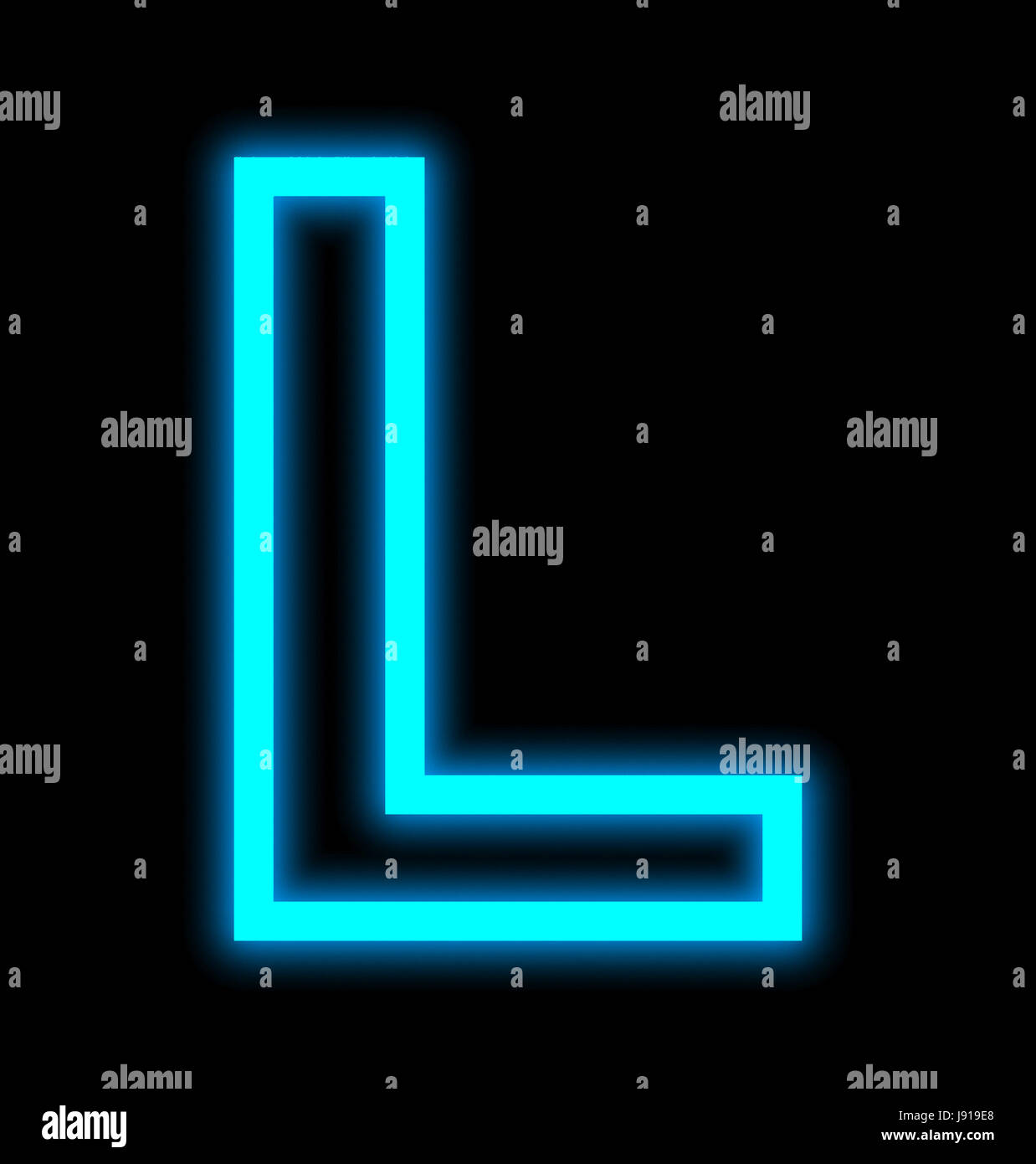 letter L neon lights outlined isolated on black background Stock Photo