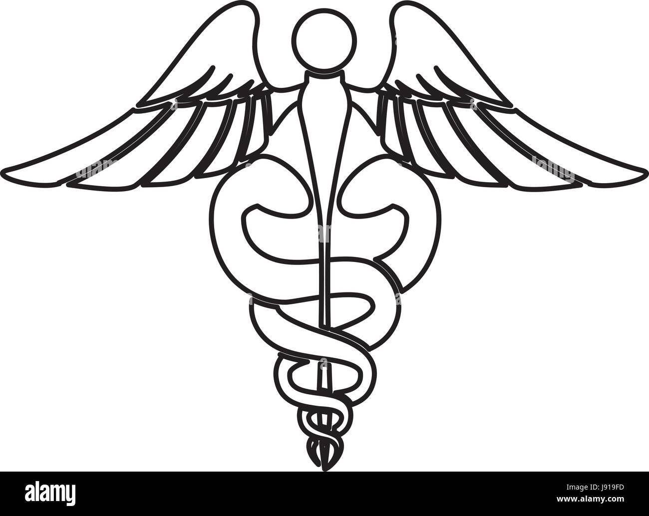 Caduceus medical sign - Stock Image