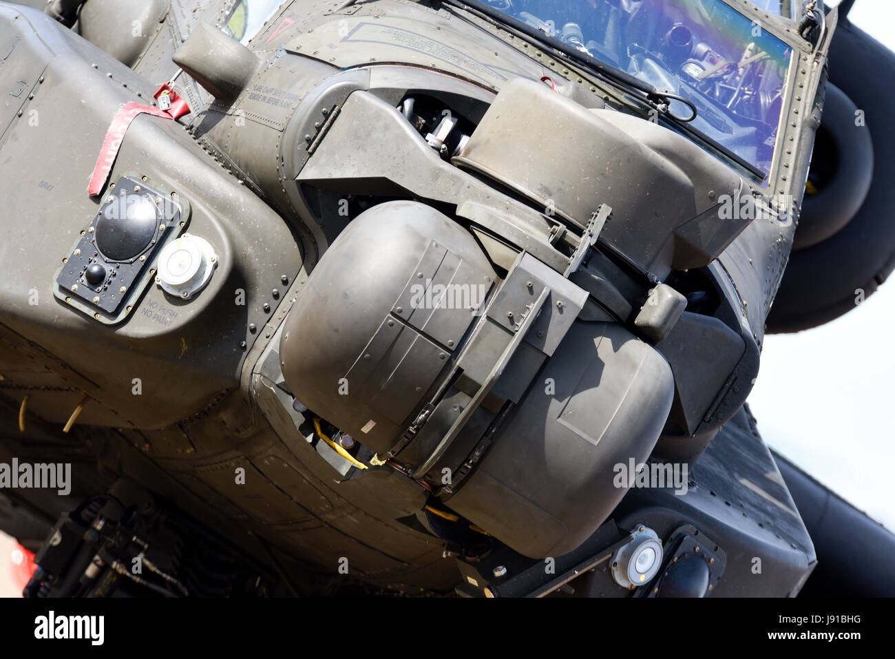 British Army Agusta Westland AH-64D Apache Longbow AH-1 attack helicopter details. Space for copy - Stock Image