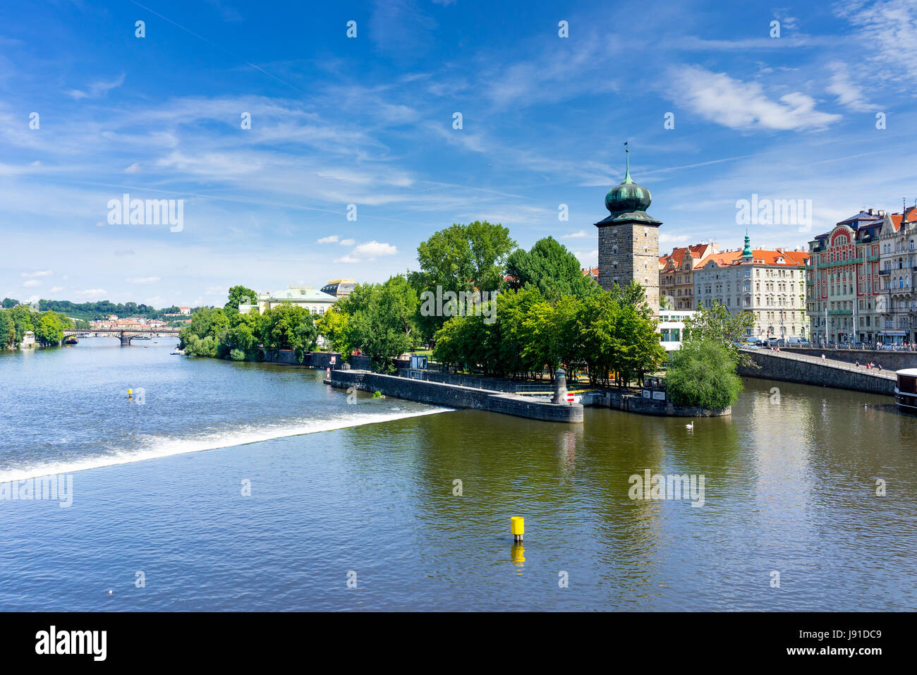 Views along the River Vltava from the Czech Capital City of Prague Europe - Stock Image
