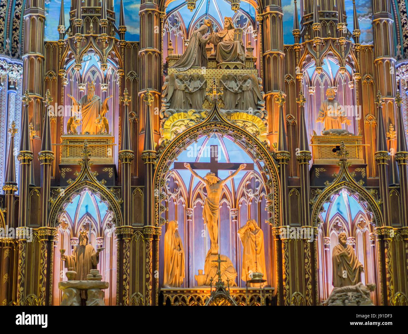 Notre Dame Basilica, Montreal - Stock Image