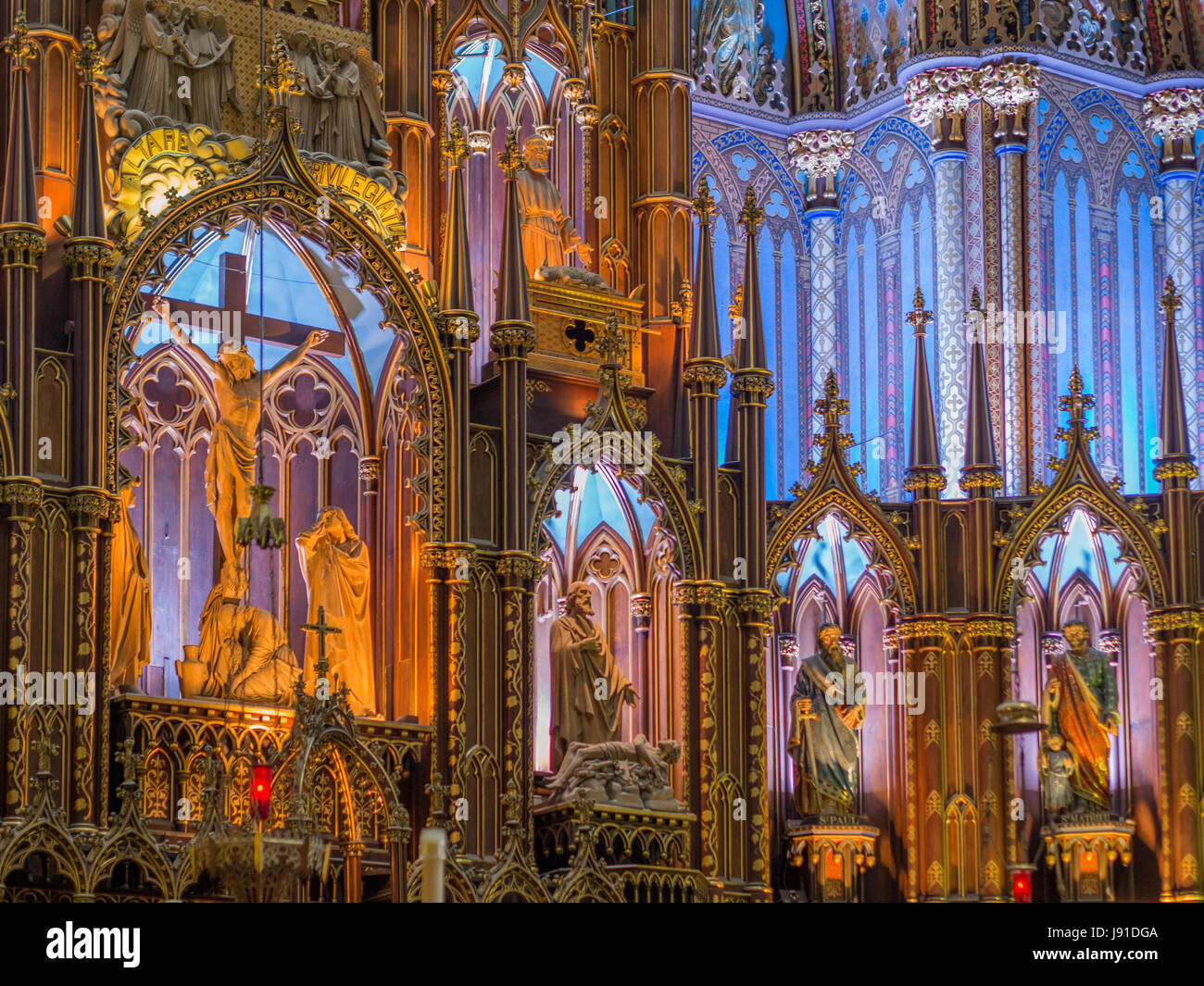 The statue of Jesus at Notre Dame Basilica, Montreal in a Eucharistic theme - Stock Image