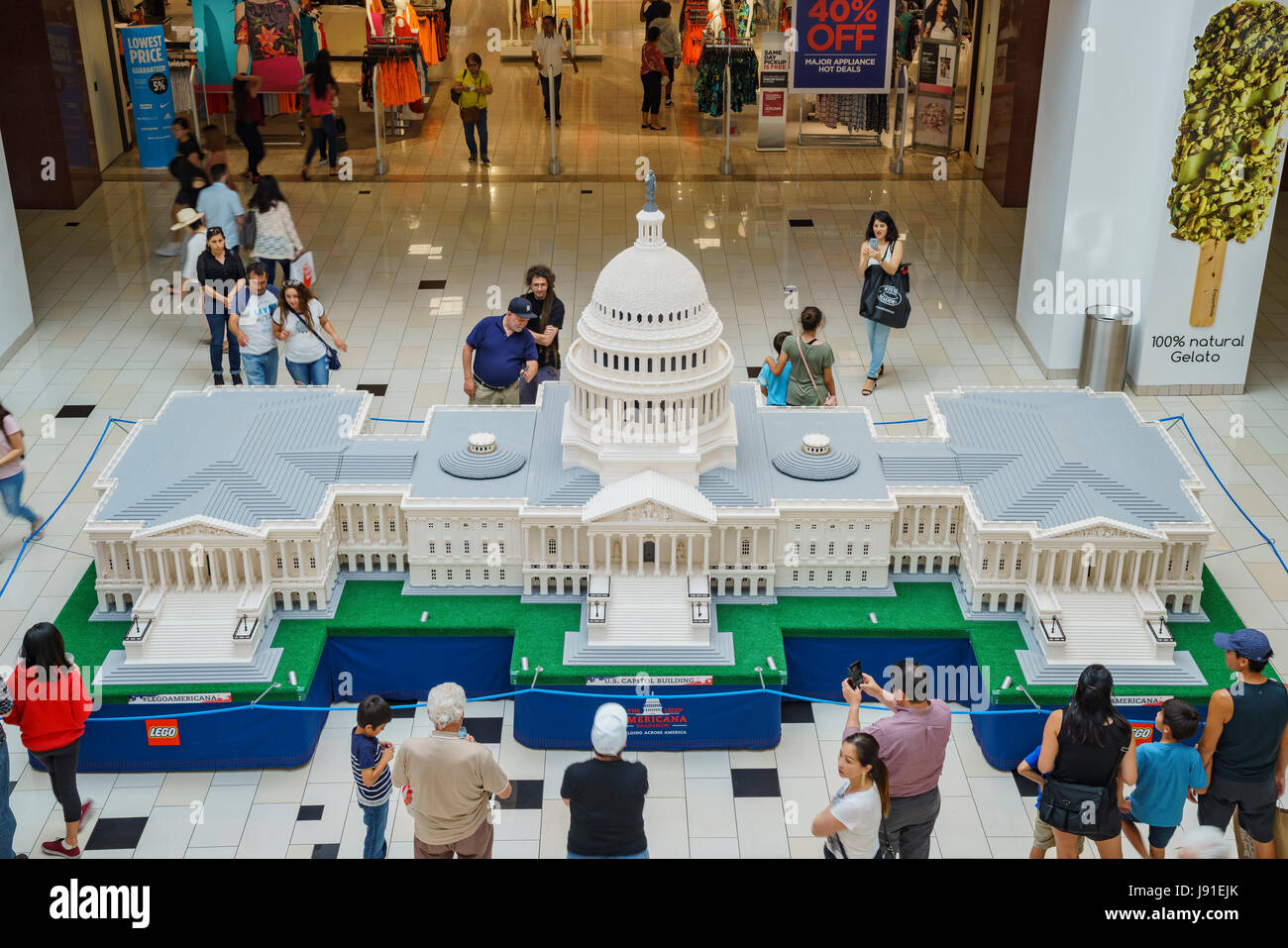 Glendale Galleria, MAY 28: The Lego Americana roadshow (U.S. Capitol Building) on MAY 28, 2017 at Glendale Galleria, - Stock Image