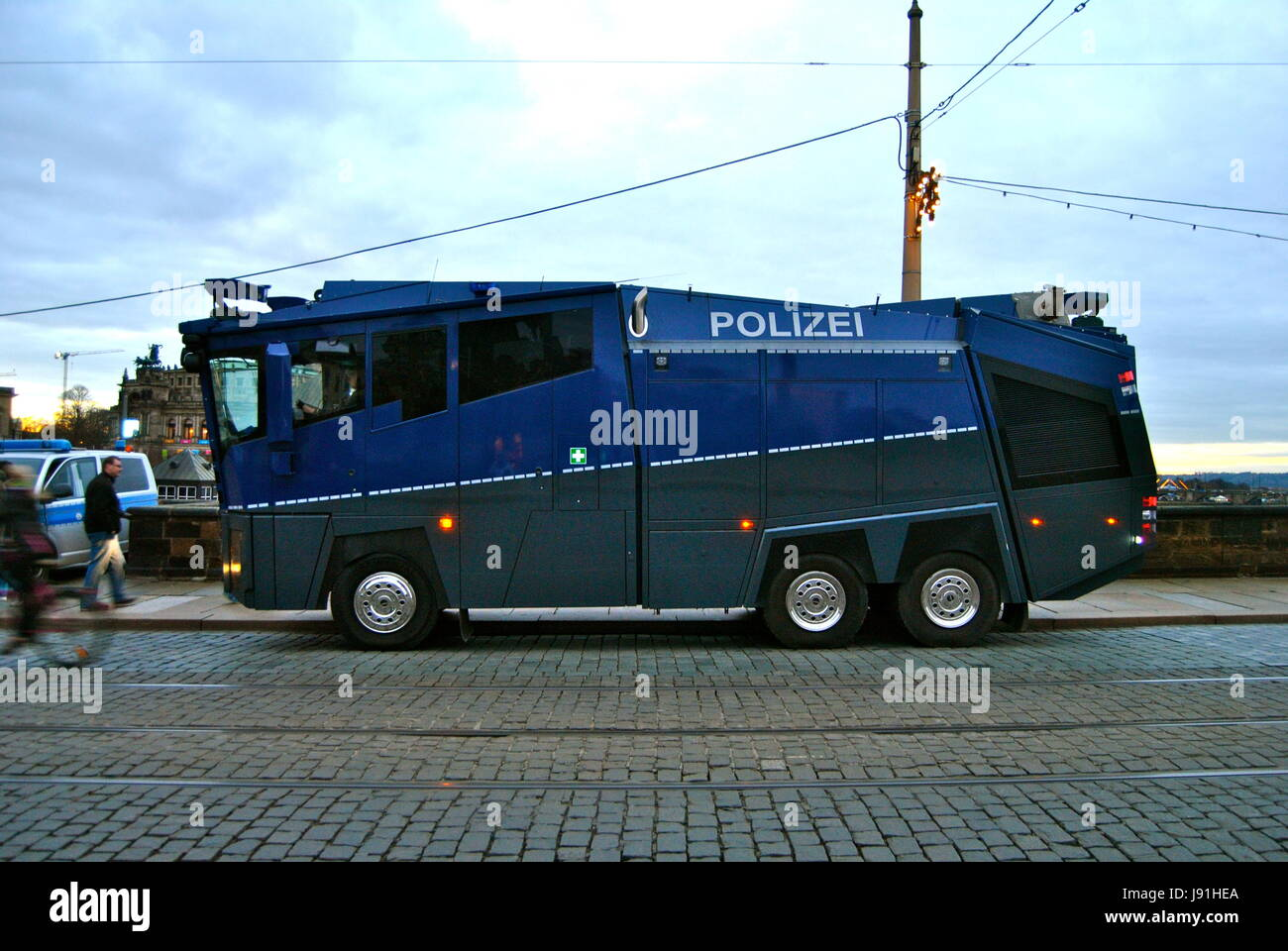 Police water cannon before Pegida rally, Dresden, Germany - Stock Image