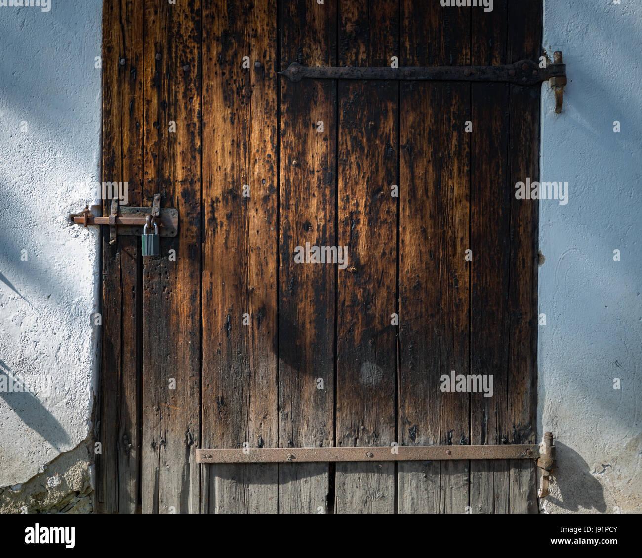 Old door in Skansen open-air museum and zoo in Sweden, Stockholm. Old swedish traditional village. Scandinavia, - Stock Image
