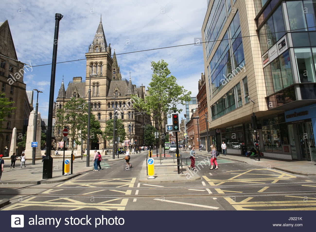 A sunny day in the city of Manchester in the week of the Manchester bombing - Stock Image