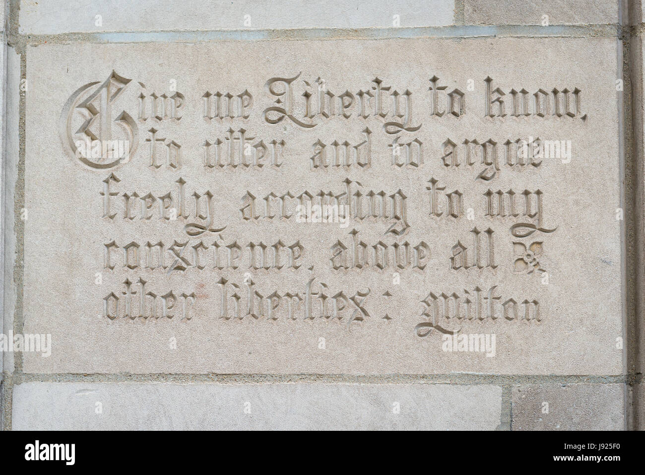 Chicago Illinois Michigan Avenue Chicago Tribune Tower plaque Give me Liberty to know to utter and to argue freely - Stock Image