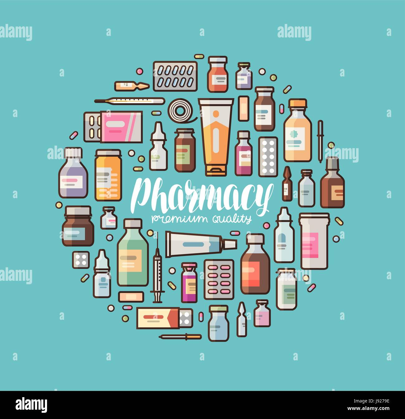 Pharmacy, pharmacology banner  Medical supplies, drugs