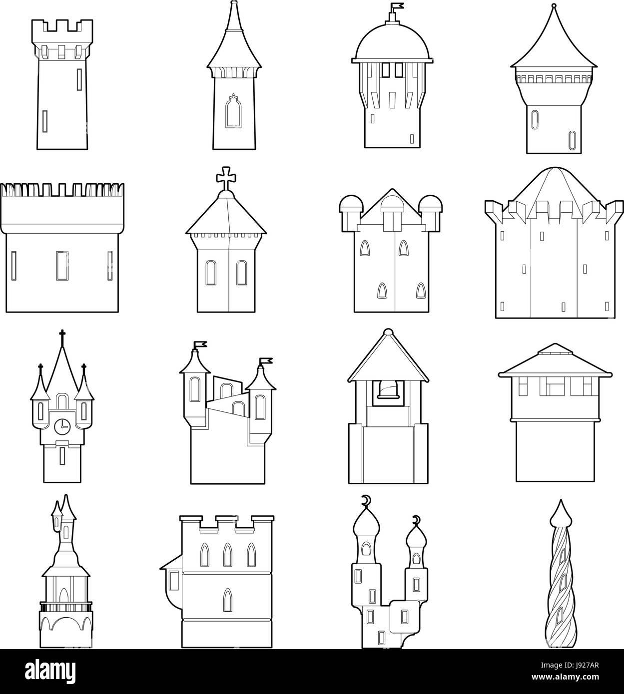 castle tower icons set color outline style J927AR castle tower icons set color, outline style stock vector art