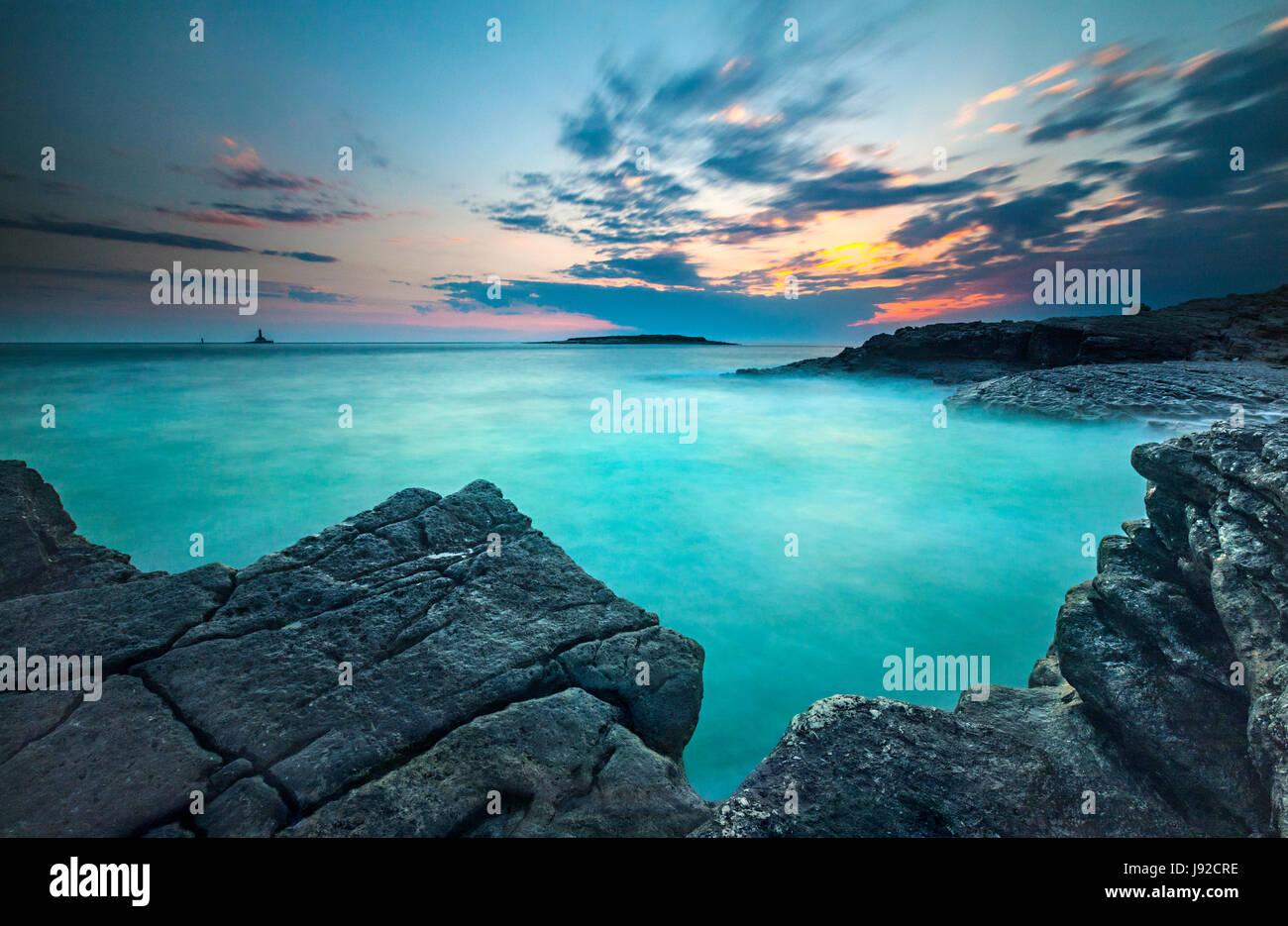 Sunset landscape in Istria. Rt kamenjak, Premantura. - Stock Image
