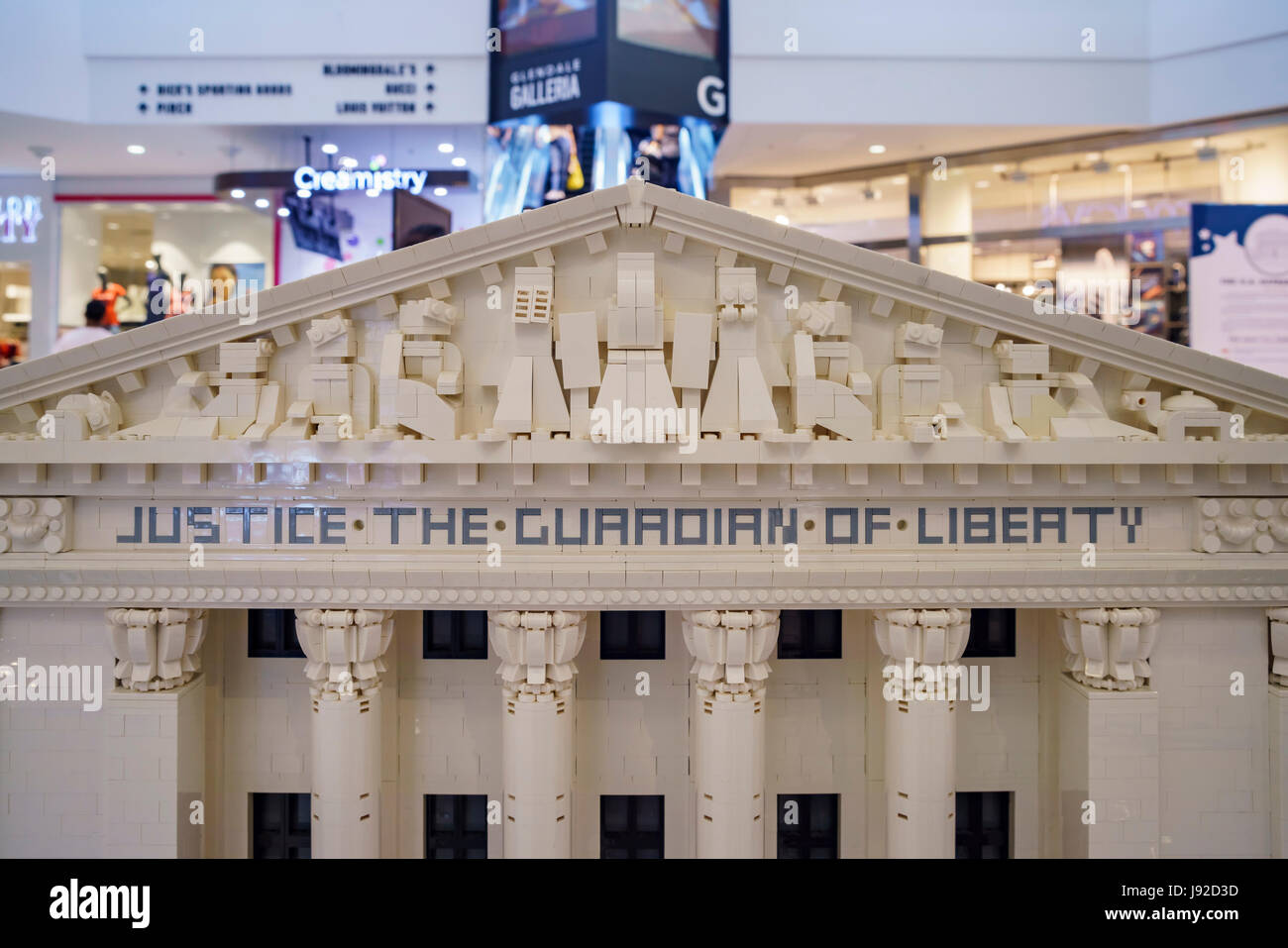 Glendale Galleria, MAY 28: The Lego Americana roadshow (The U.S. Supreme Court Building) on MAY 28, 2017 at Glendale - Stock Image