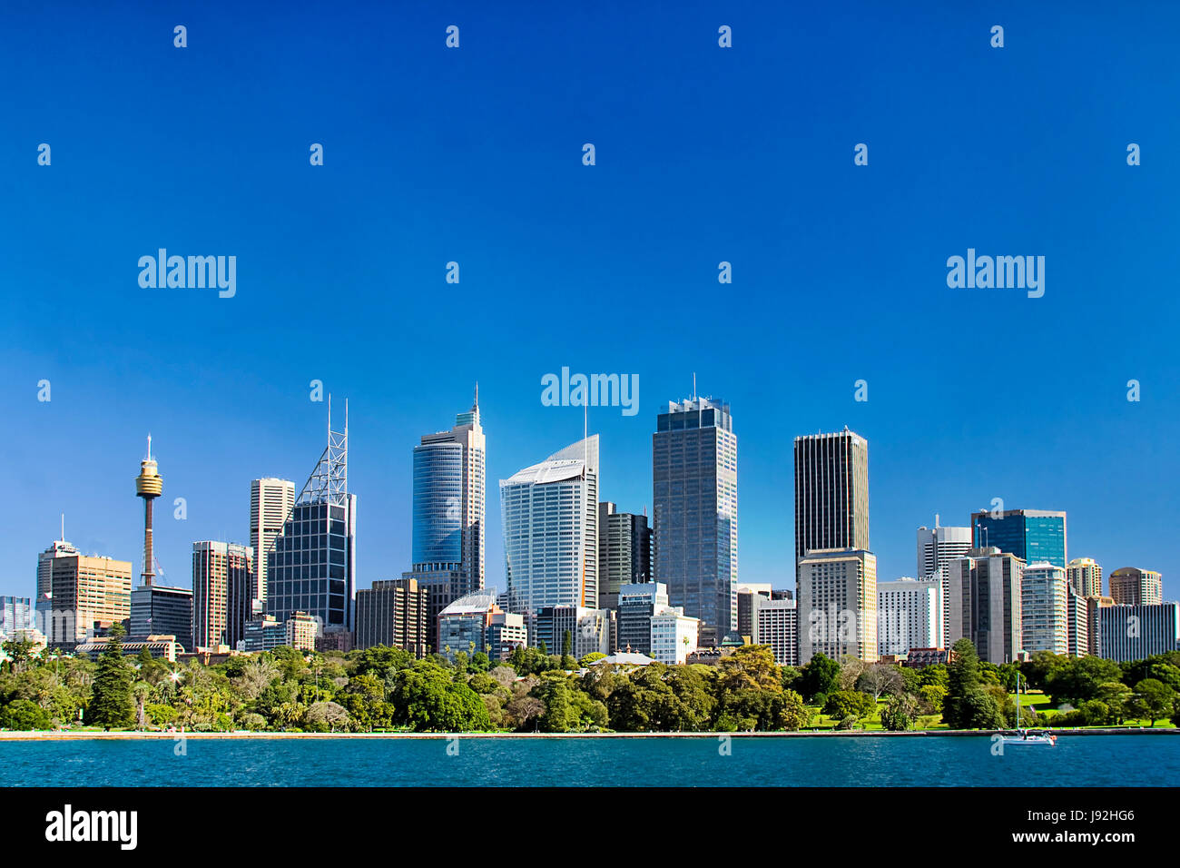 Sydney city central business district skyline over Royal botanic garden across blue waters of harbour under blue - Stock Image