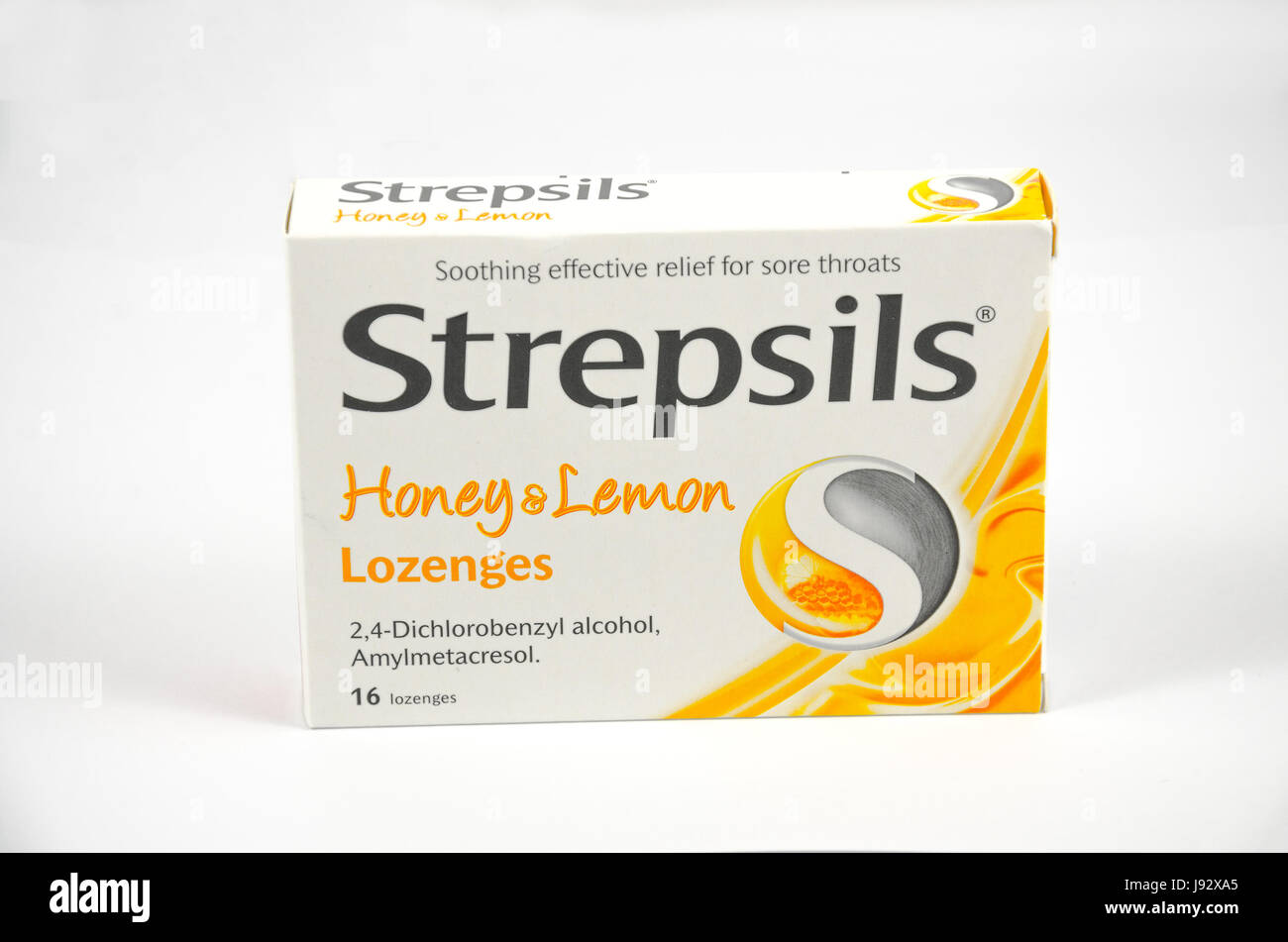 A box of Strepsils throat lozenges isolated against a white background. - Stock Image