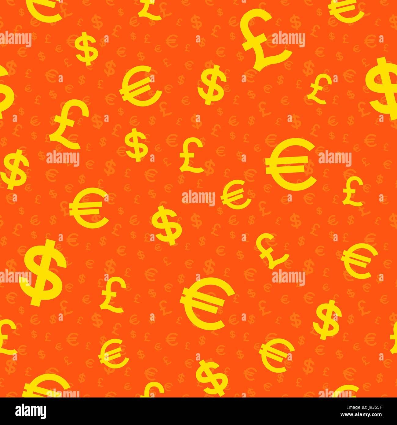 Dollars, Pounds and Euro seamless background, stylised vector illustration in yellow and orange colors - Stock Vector