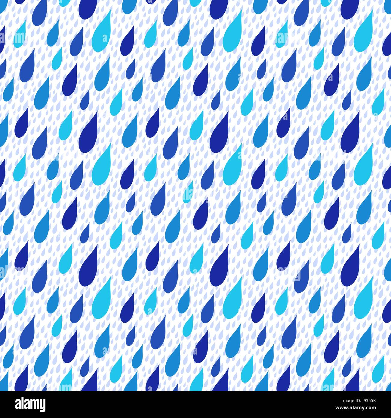 Rain drops falling obliquely, stylised seamless vector background in blue hues over white - Stock Vector