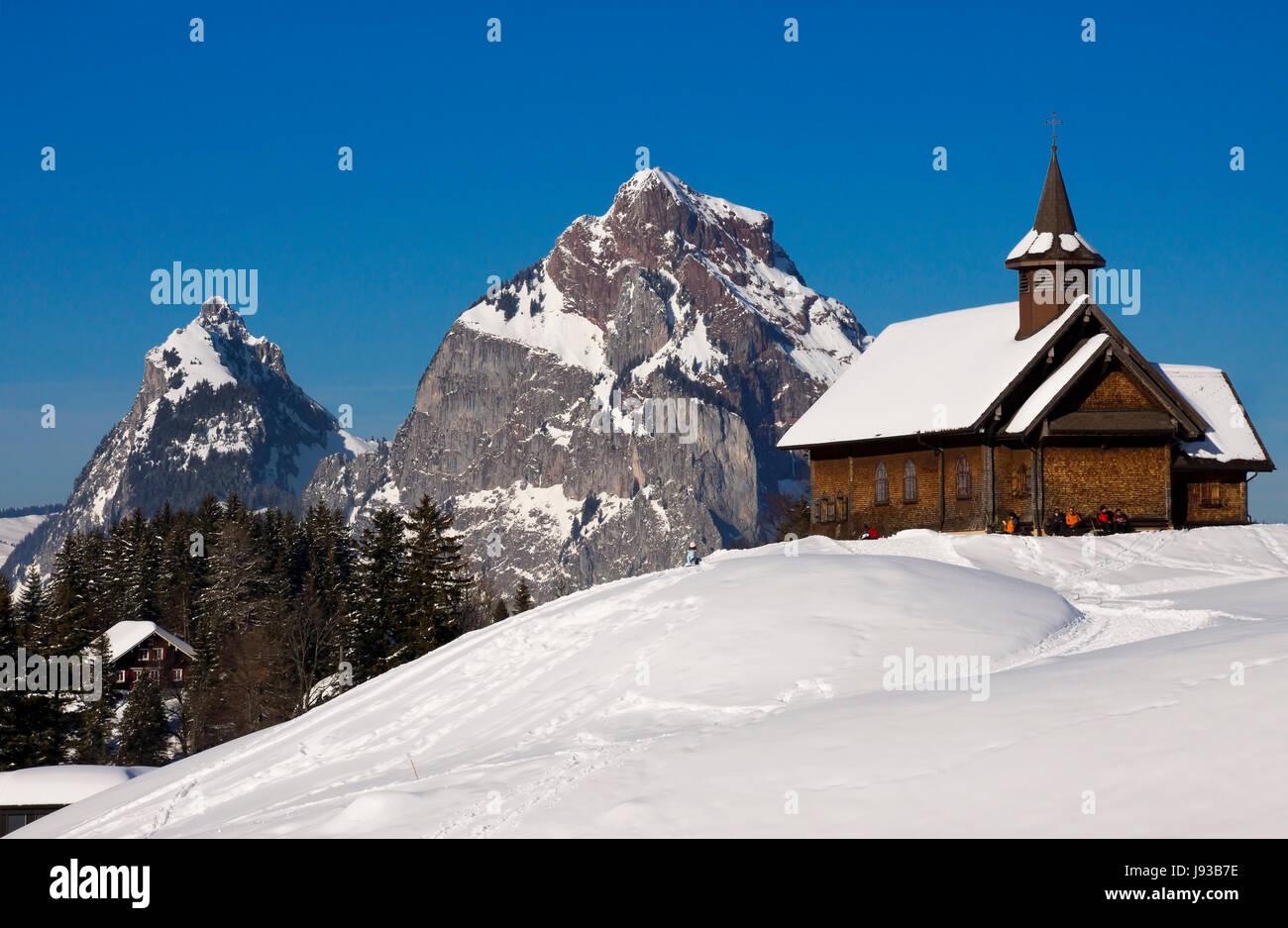 chapel, switzerland, myths, central switzerland, winter, chapel, switzerland, - Stock Image