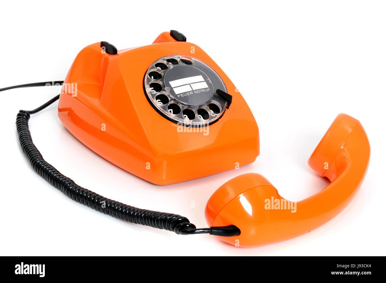 telephone, phone, listener, slim down, lose weight, orange, waned, old, - Stock Image