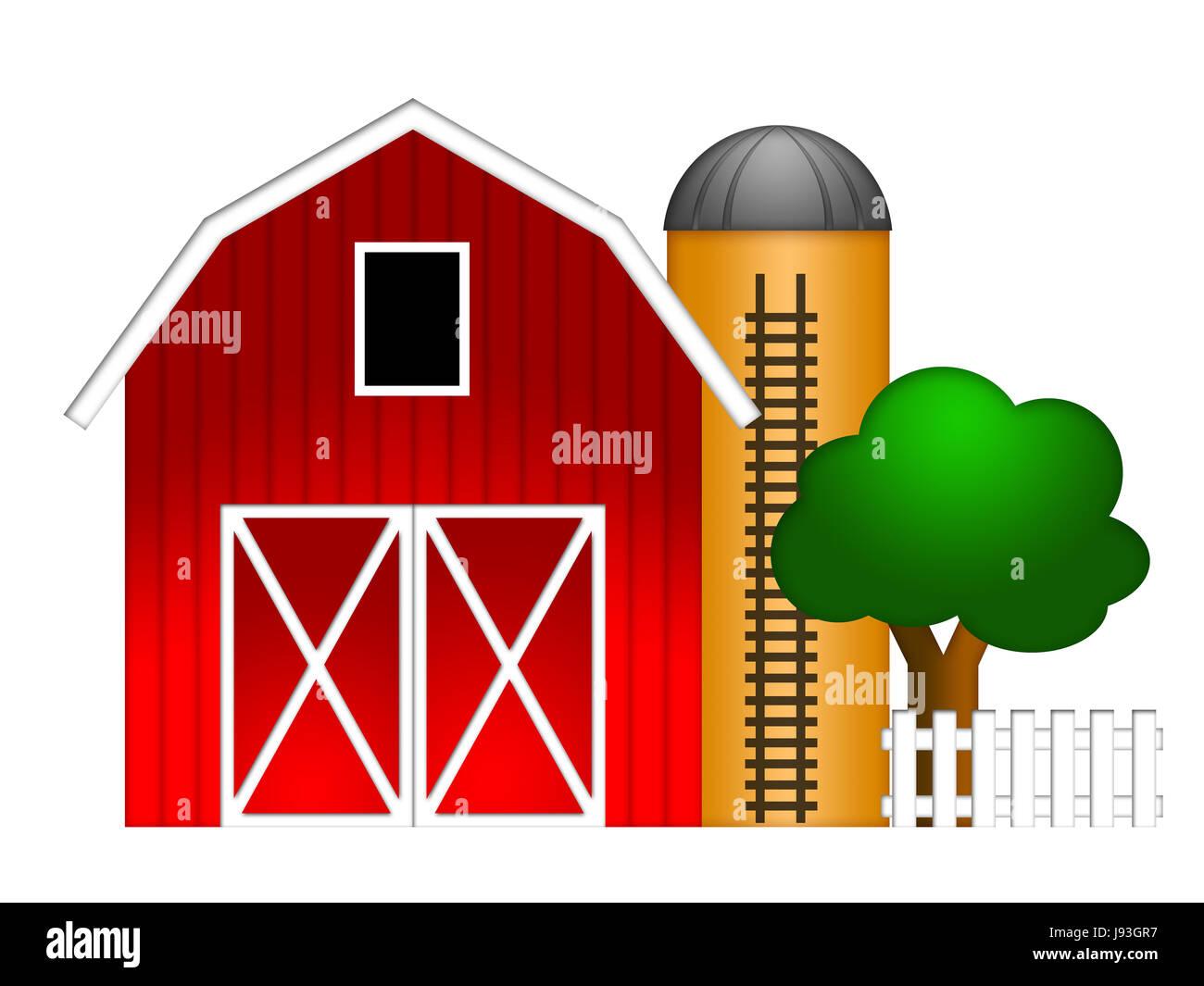 Elevator Lift Grain Barn Farm Hay Silo Ladder Red Cereal Tower