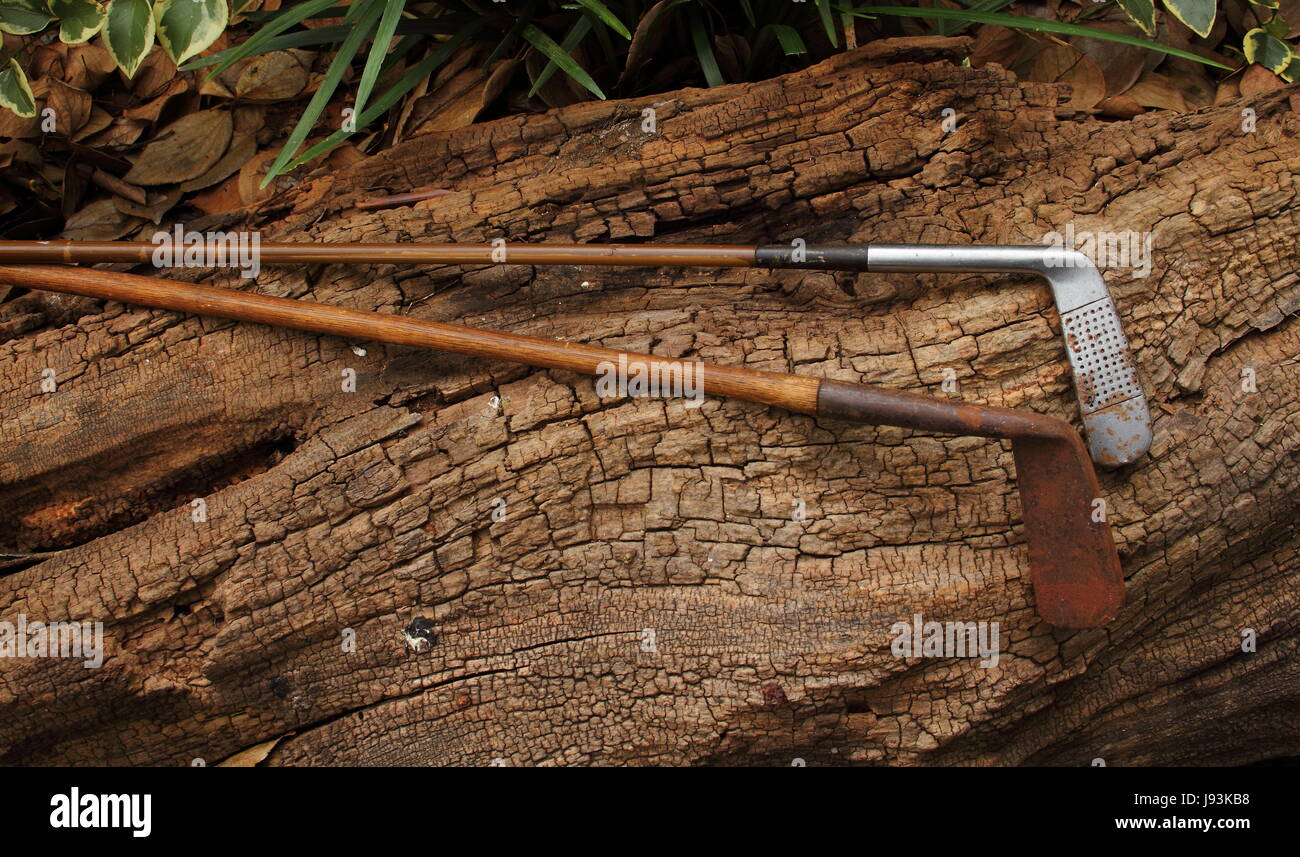 Retro hickory shafted golf clubs - Stock Image