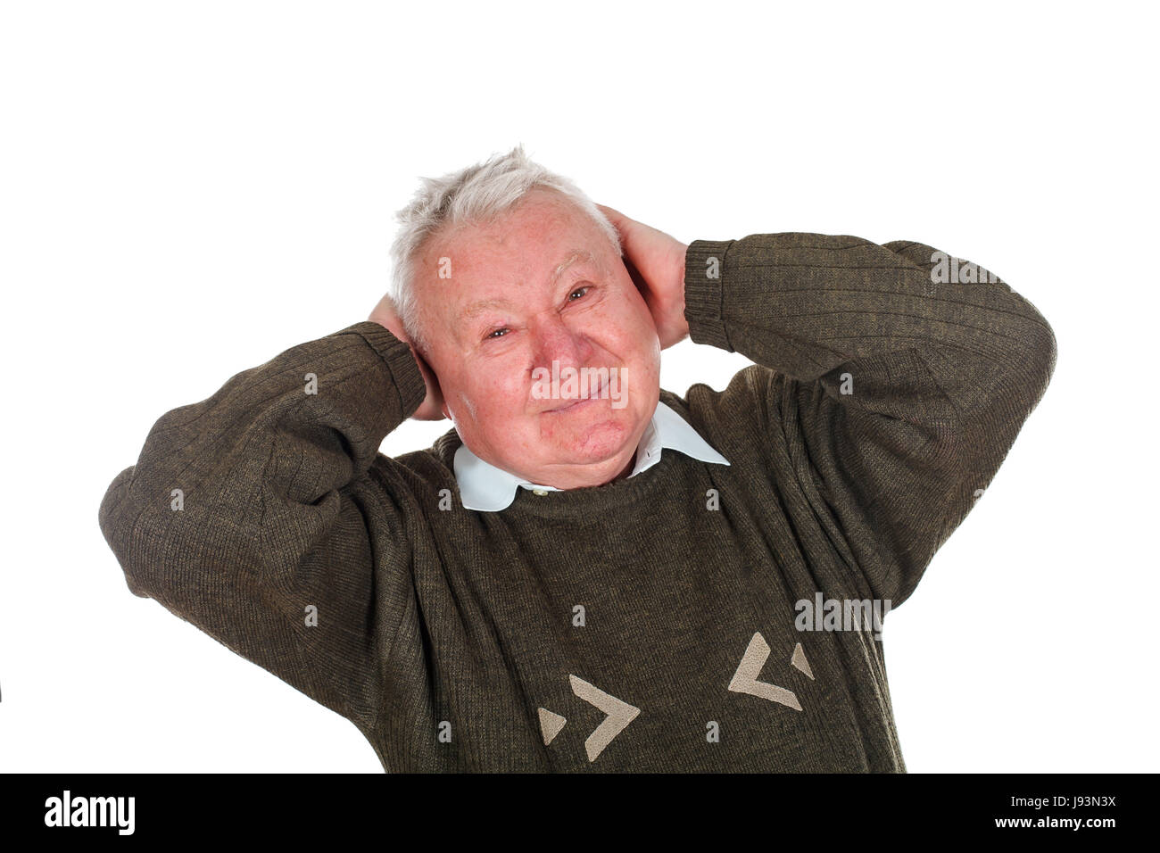 Picture of an old man being confident about his medical diagnosis - Stock Image