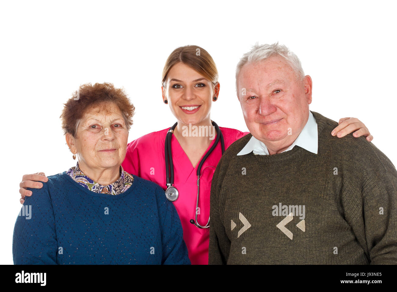 Picture of an old couple with their kind physician - isolated background - Stock Image