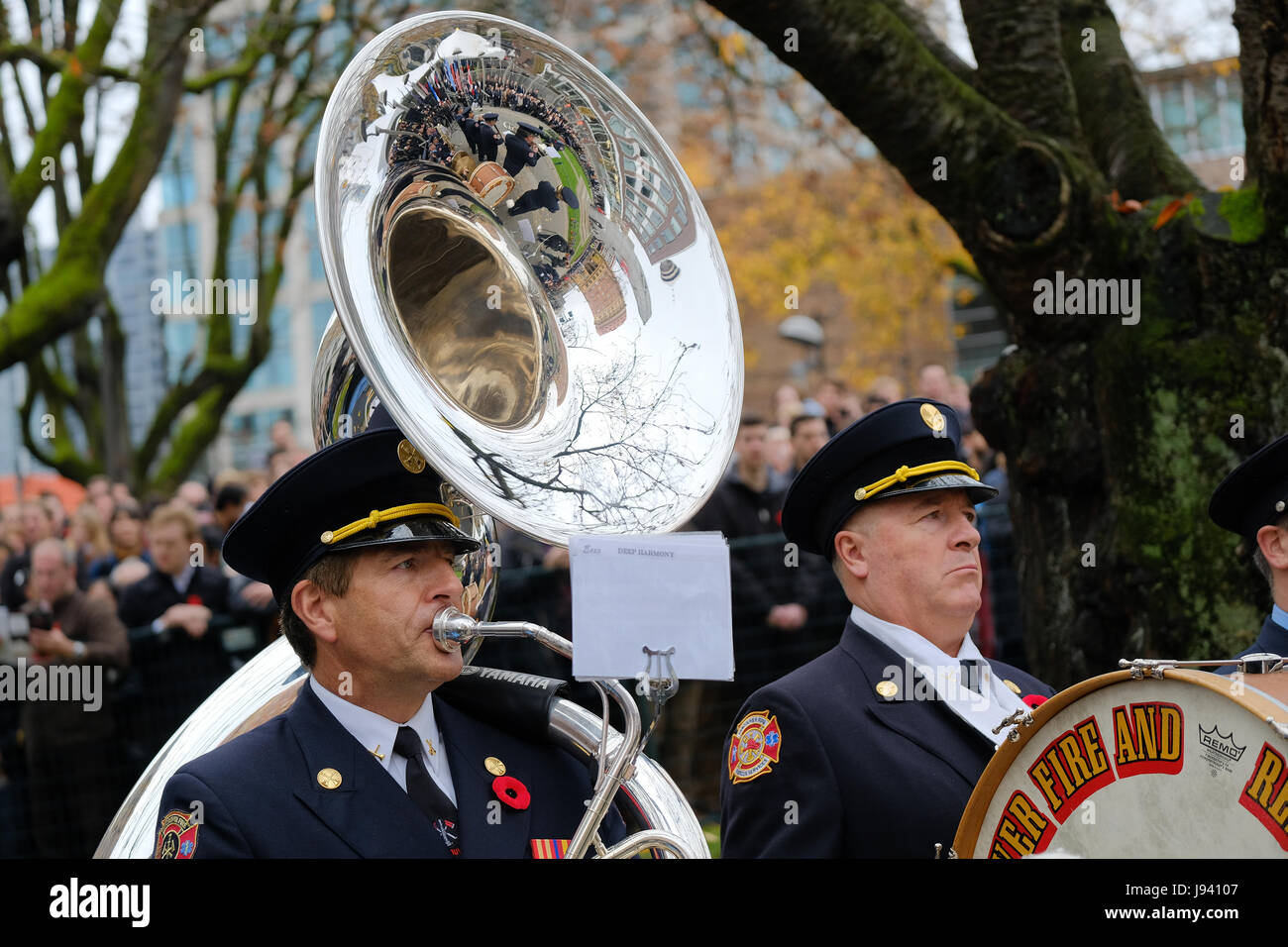 11th November, 2016. The Vancouver Fire and Rescue Services Band performs during the Annual Remembrance Day ceremony - Stock Image