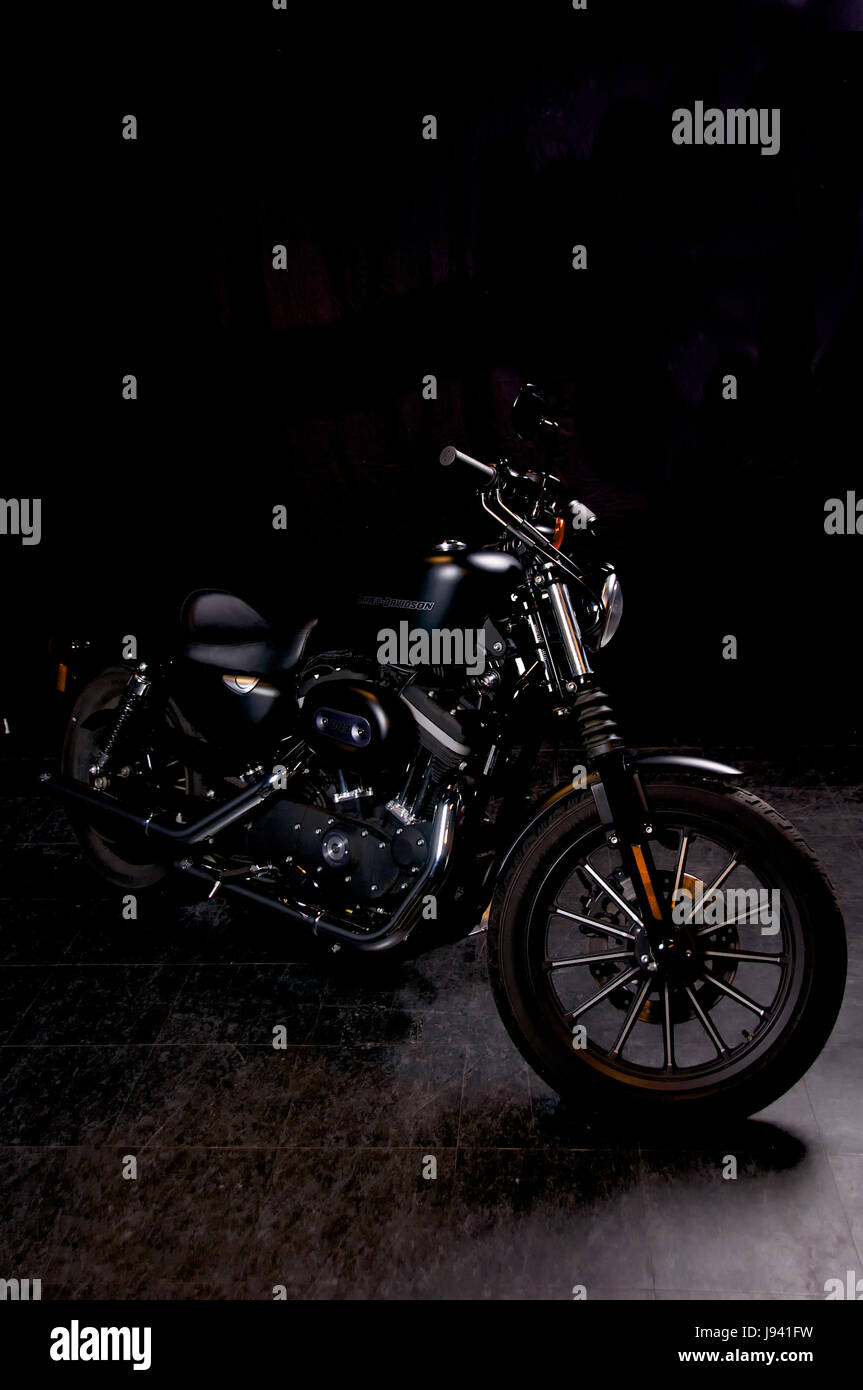 Black Harley Davidson Iron 883 In The Studio Against A Background