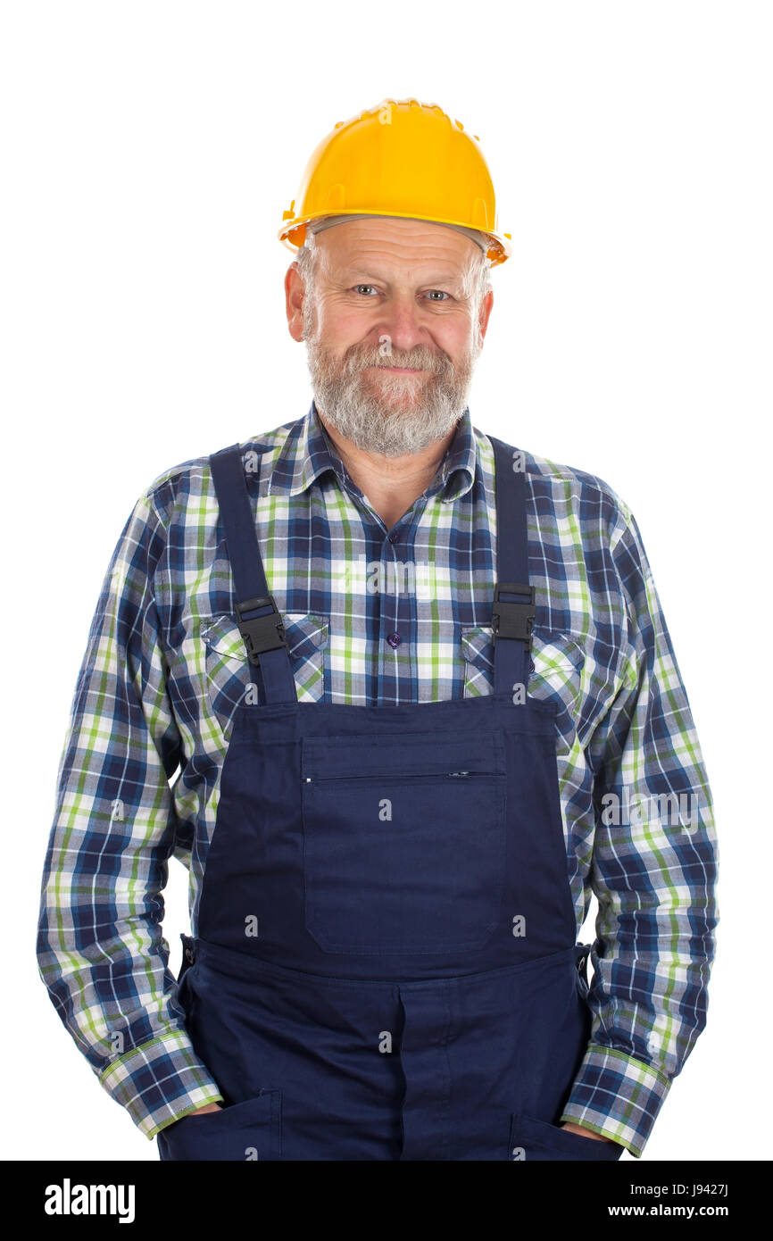 Picture of a confident engineer posing on an isolated background - Stock Image