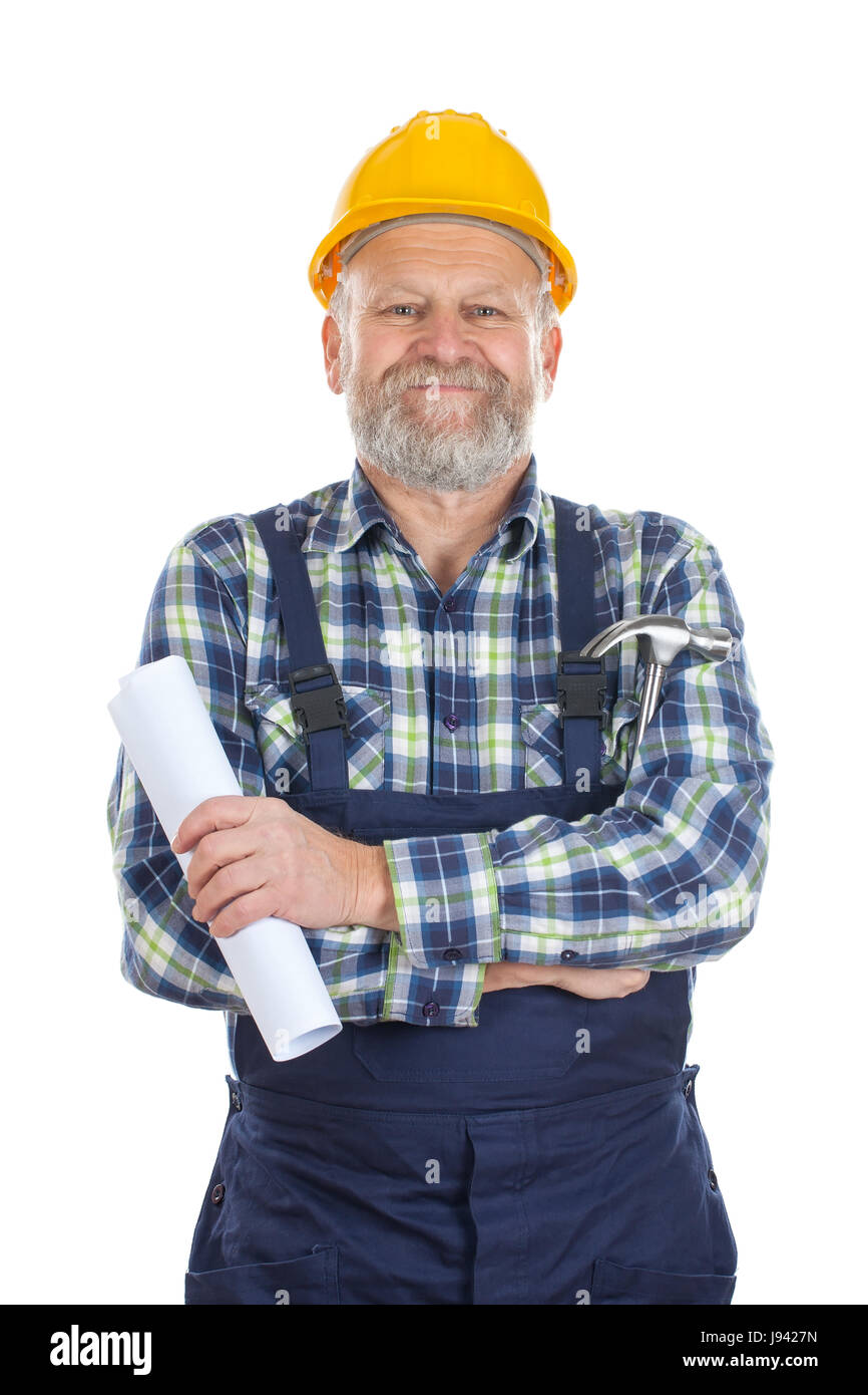 Picture of a proud engineer when finishing work - Stock Image