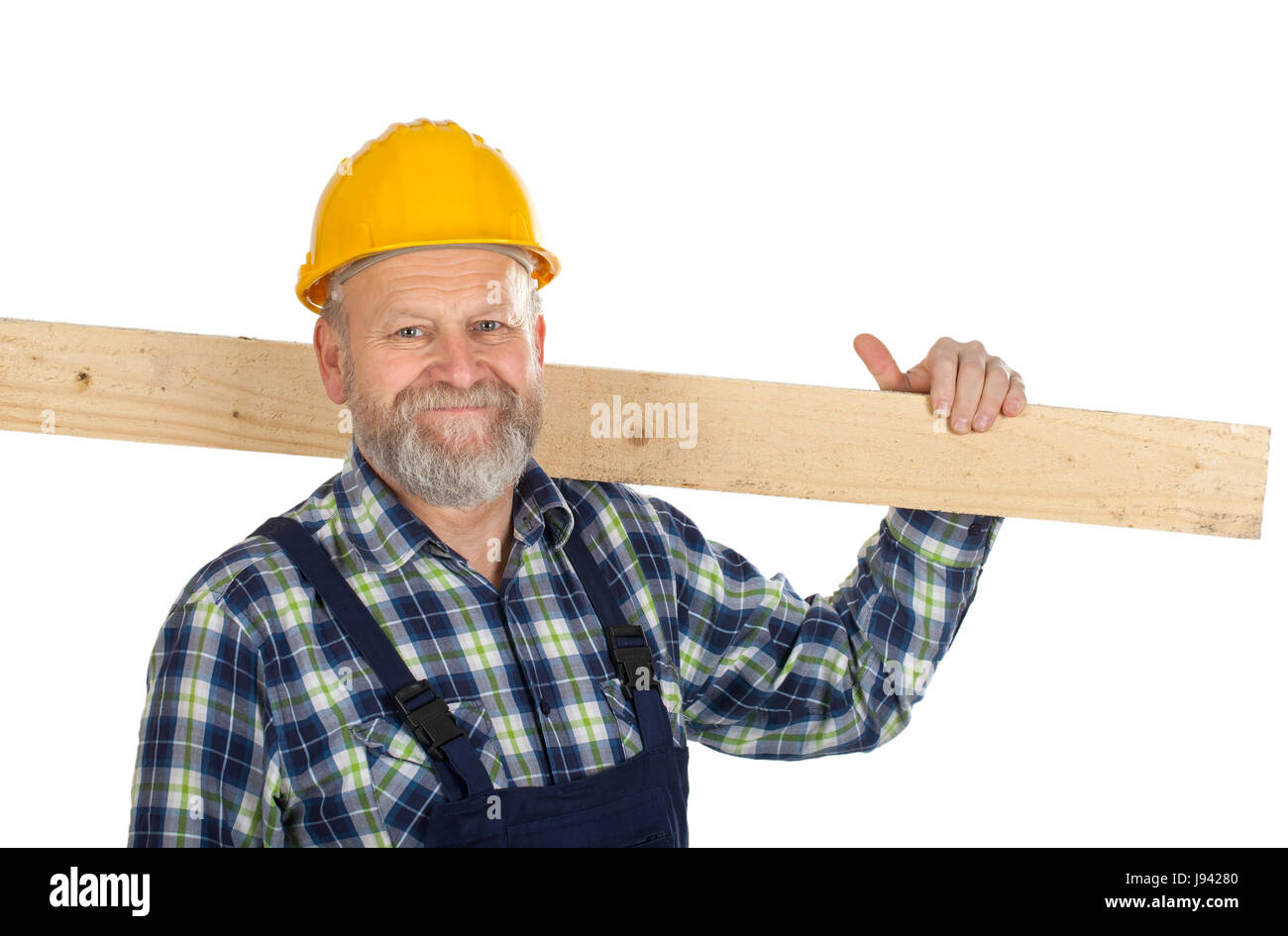 Picture of a confident engineer holding a lath - Stock Image