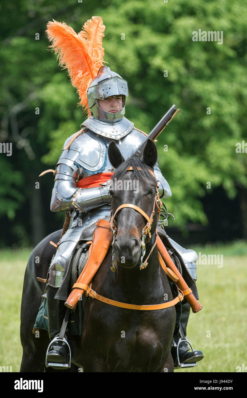 English civil war knight on horseback with a flintlock pistol at a