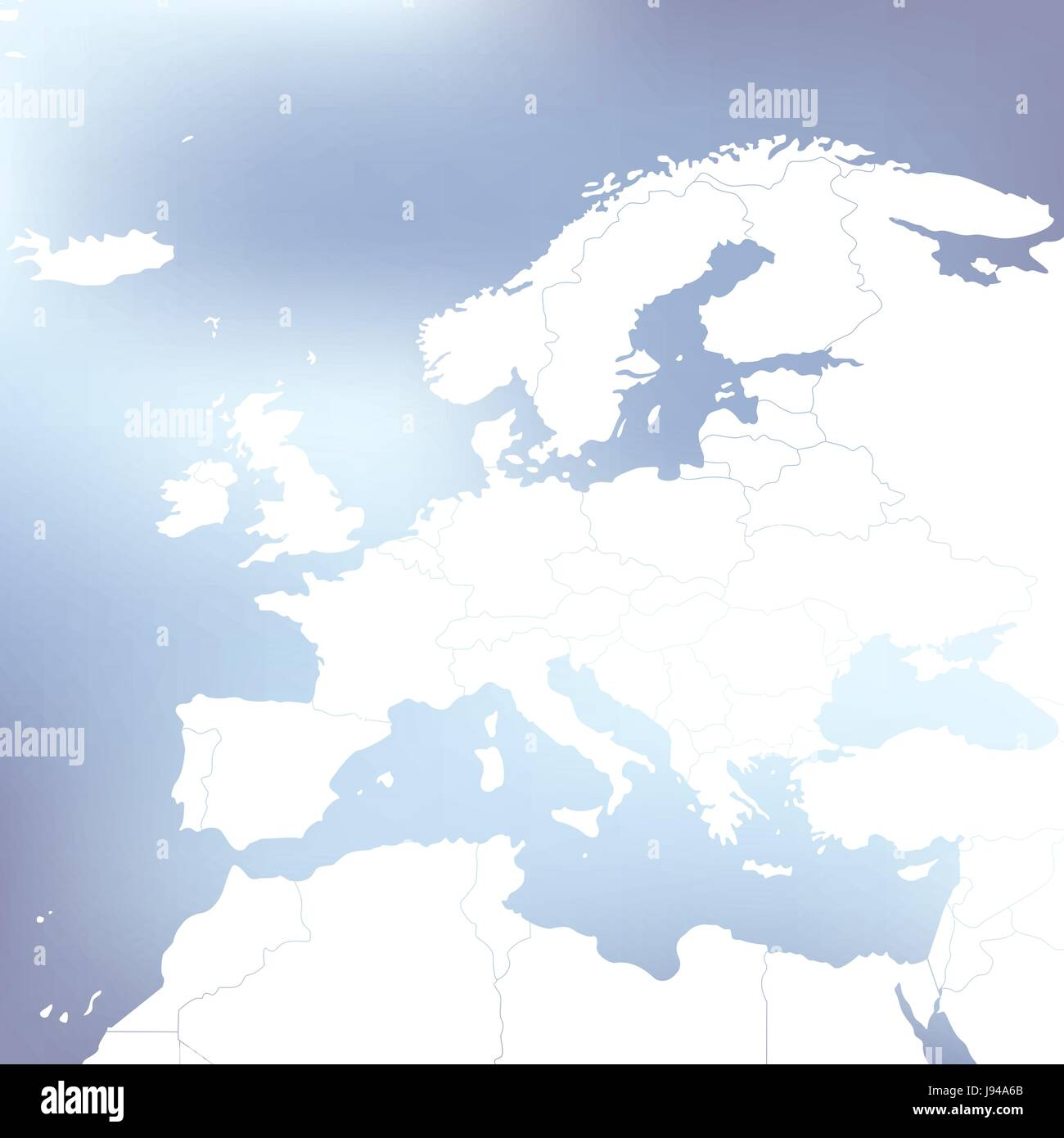 Political Map Of Europe. Abstract blurred background. Vector Illustration. - Stock Vector
