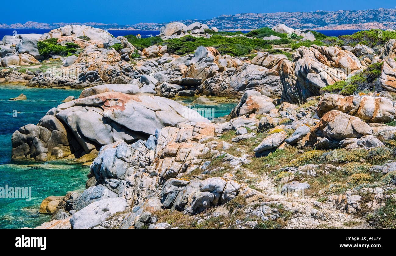 Beautiful Sardinia island landscape with granite rocks and azure coloured bays in Porto Pollo - Stock Image