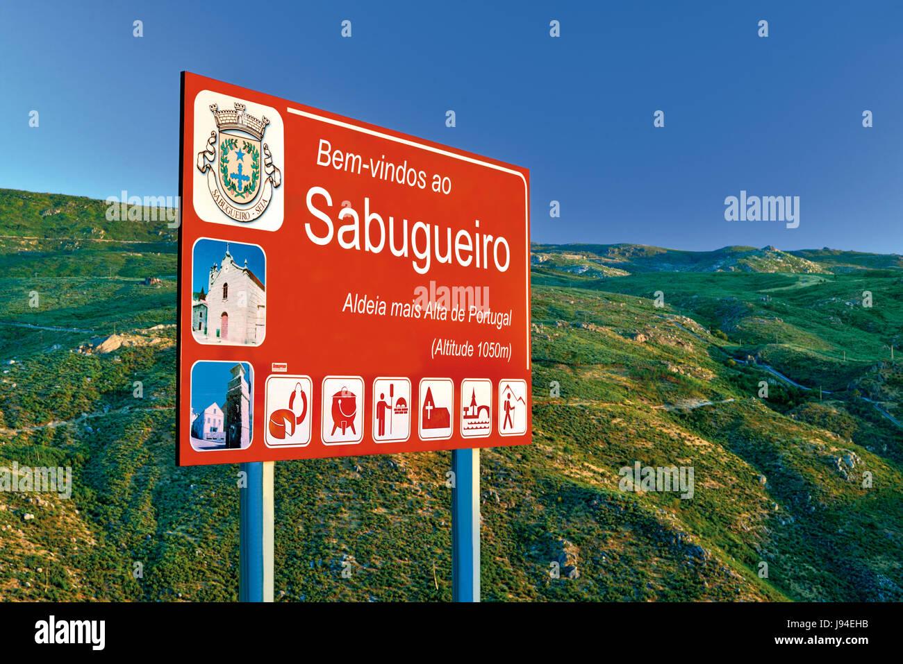 Street signal of Sabugueiro, highest village of Portugal - Stock Image