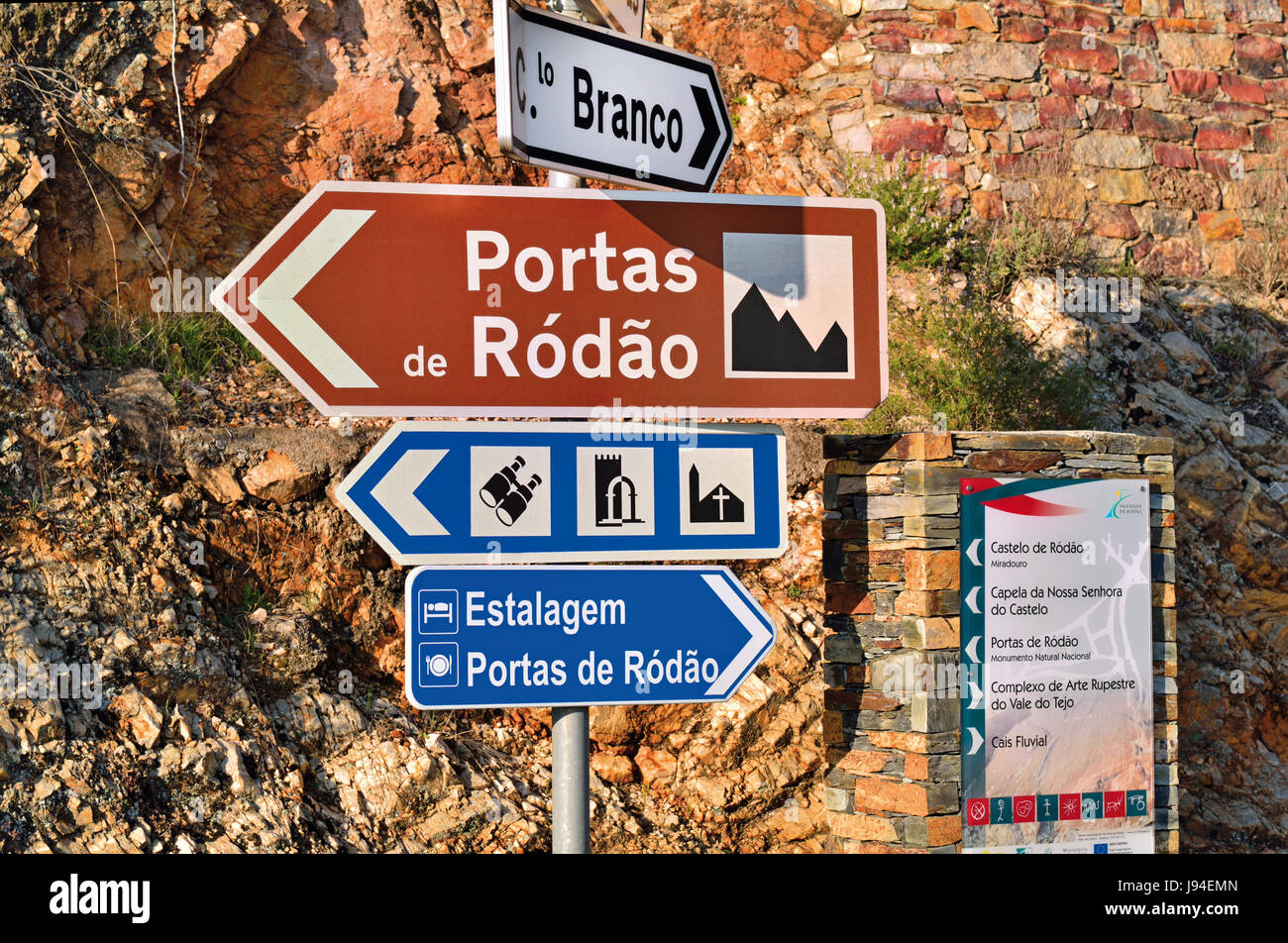 Portugal: Street signal indicating direction to Portas de Rodao, a natural river passage of Tagus river with lateral - Stock Image