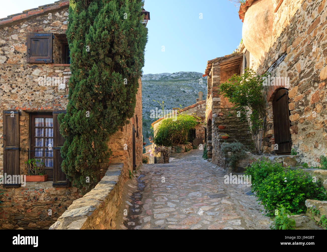 France, Pyrenees Orientales, Castelnou, labelled Les Plus Beaux Villages de France (The Most beautiful Village of - Stock Image