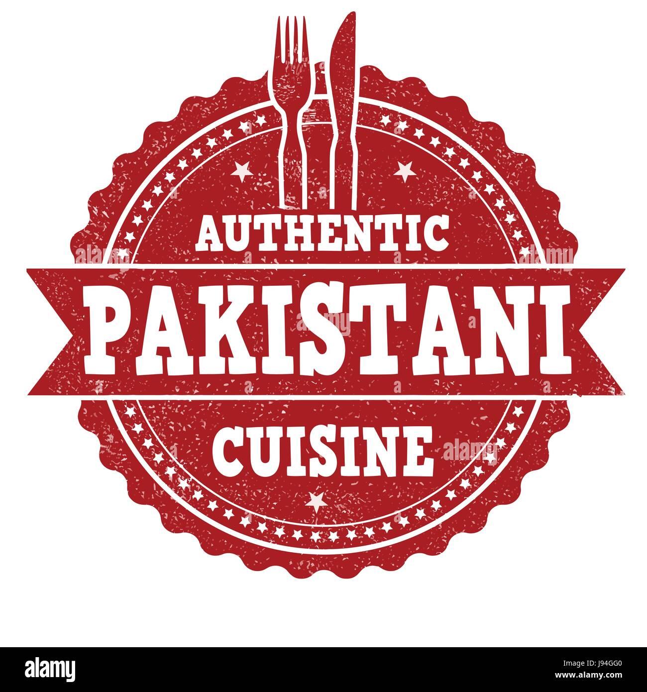 Pakistani cuisine grunge rubber stamp on white background, vector illustration - Stock Image