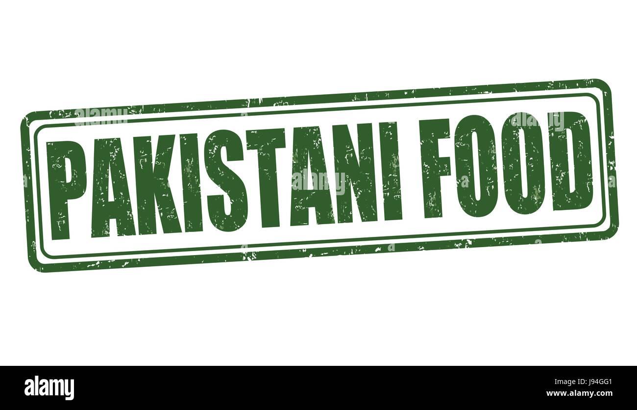 Pakistani food grunge rubber stamp on white background, vector illustration - Stock Image