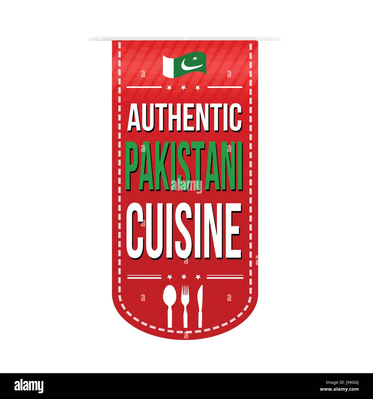 Authentic pakistani cuisine banner design over a white background, vector illustration - Stock Image