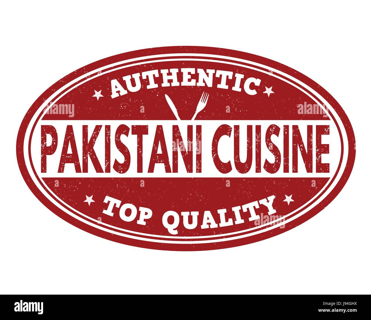 Authentic pakistani cuisine grunge rubber stamp on white background, vector illustration - Stock Image
