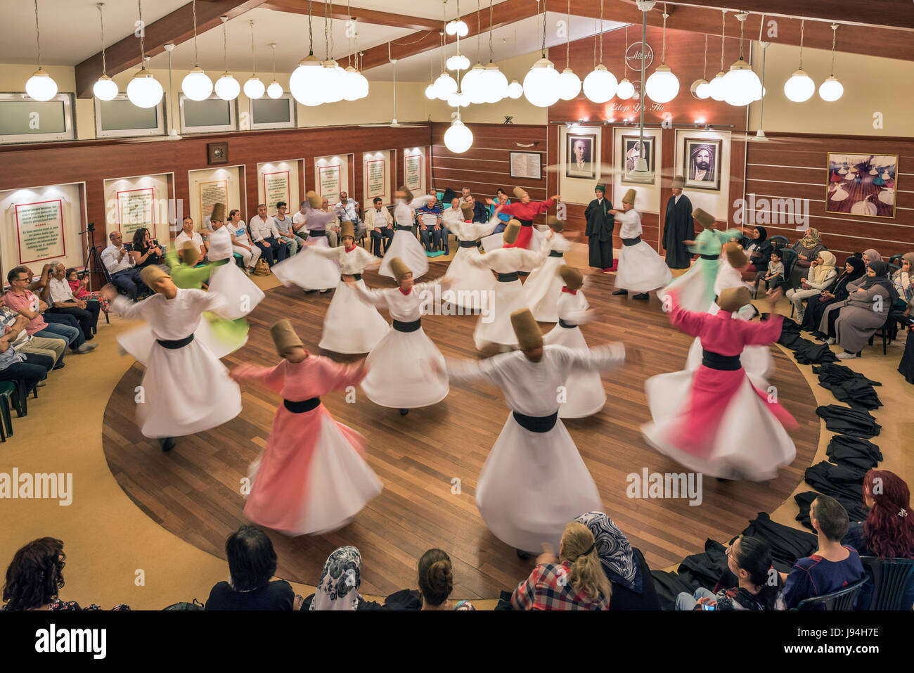 Whirling Dervishes Ceremony, Istanbul,Turkey - Stock Image