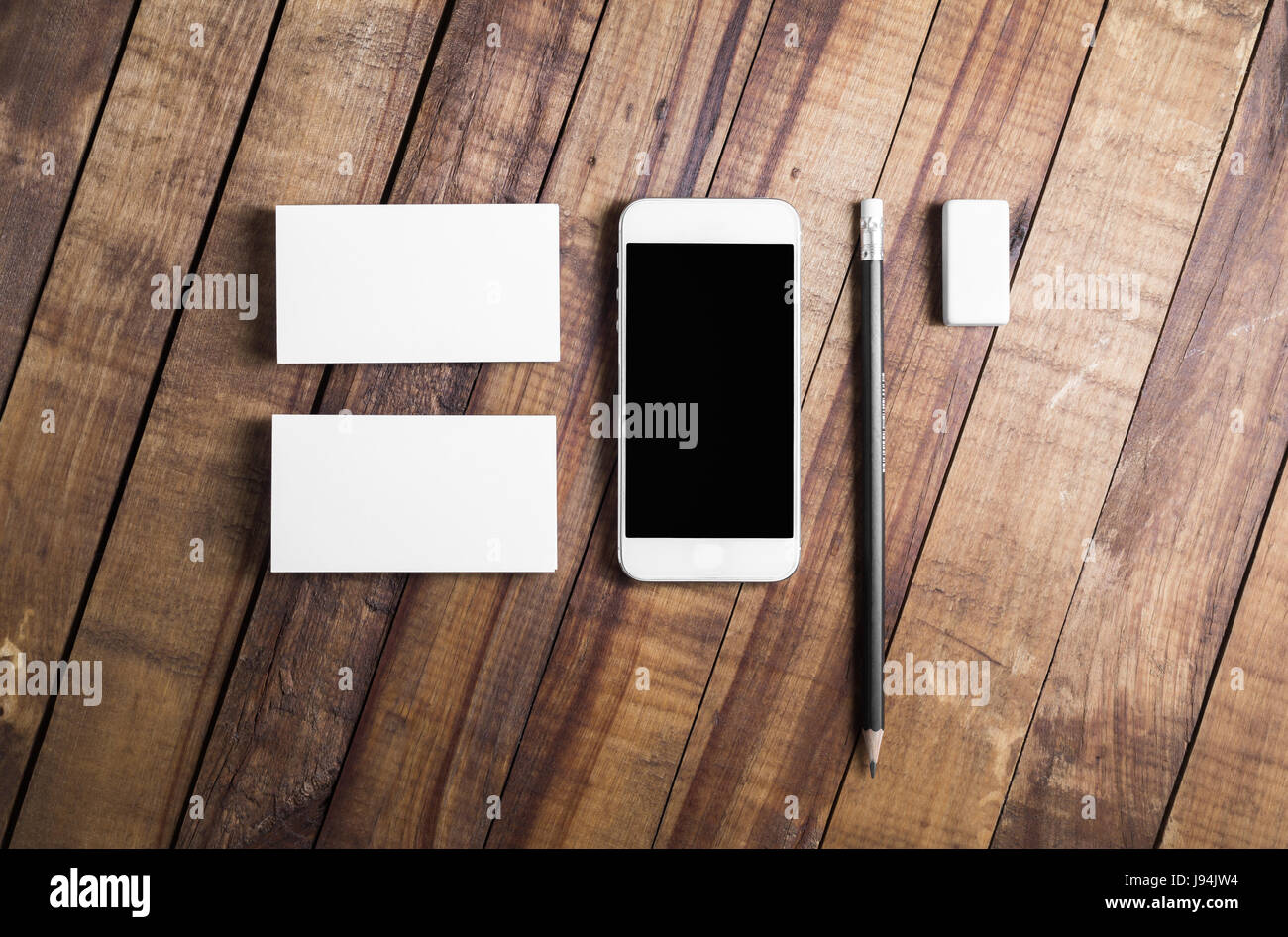 Photo Of Smartphone With Blank Screen Business Cards Pencil And Eraser On Wooden Table Background Mockup Brand Template St