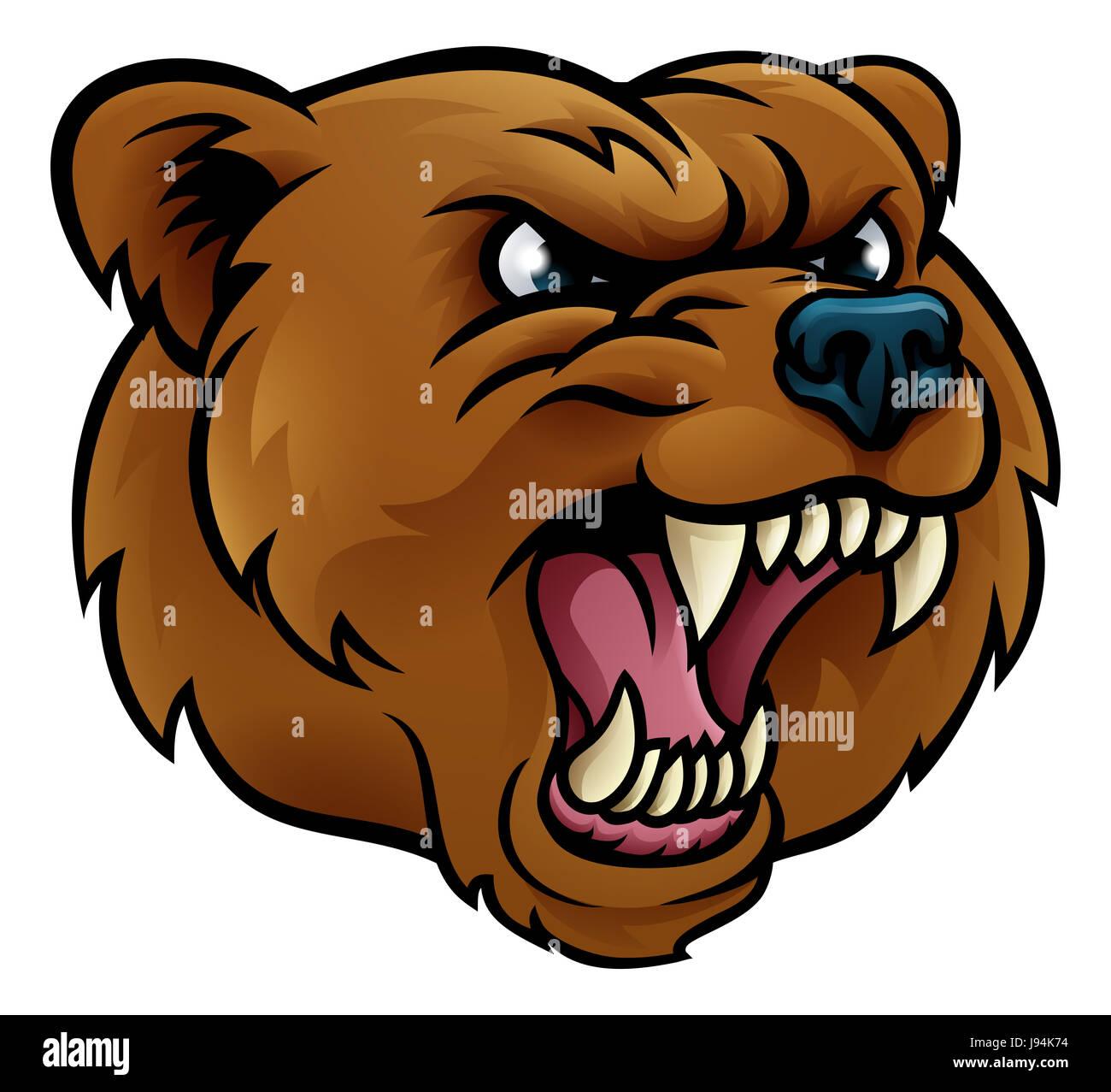 bear grizzly angry sports mascot cartoon character face stock photo rh alamy com cartoon bear face images cartoon bear face images